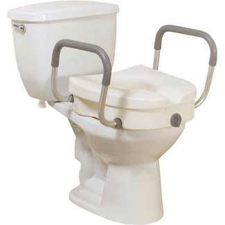 Compass Healthcare Clamp-on Elevated Toilet Seat with Padded Arms, 5 Inch