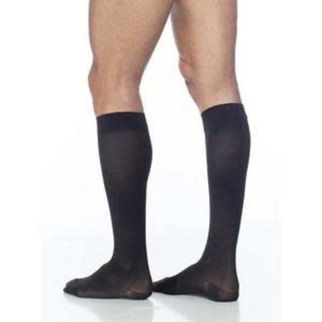 Sigvaris Cotton 20-30 Calf Mens SL Closed Toe Black Mist
