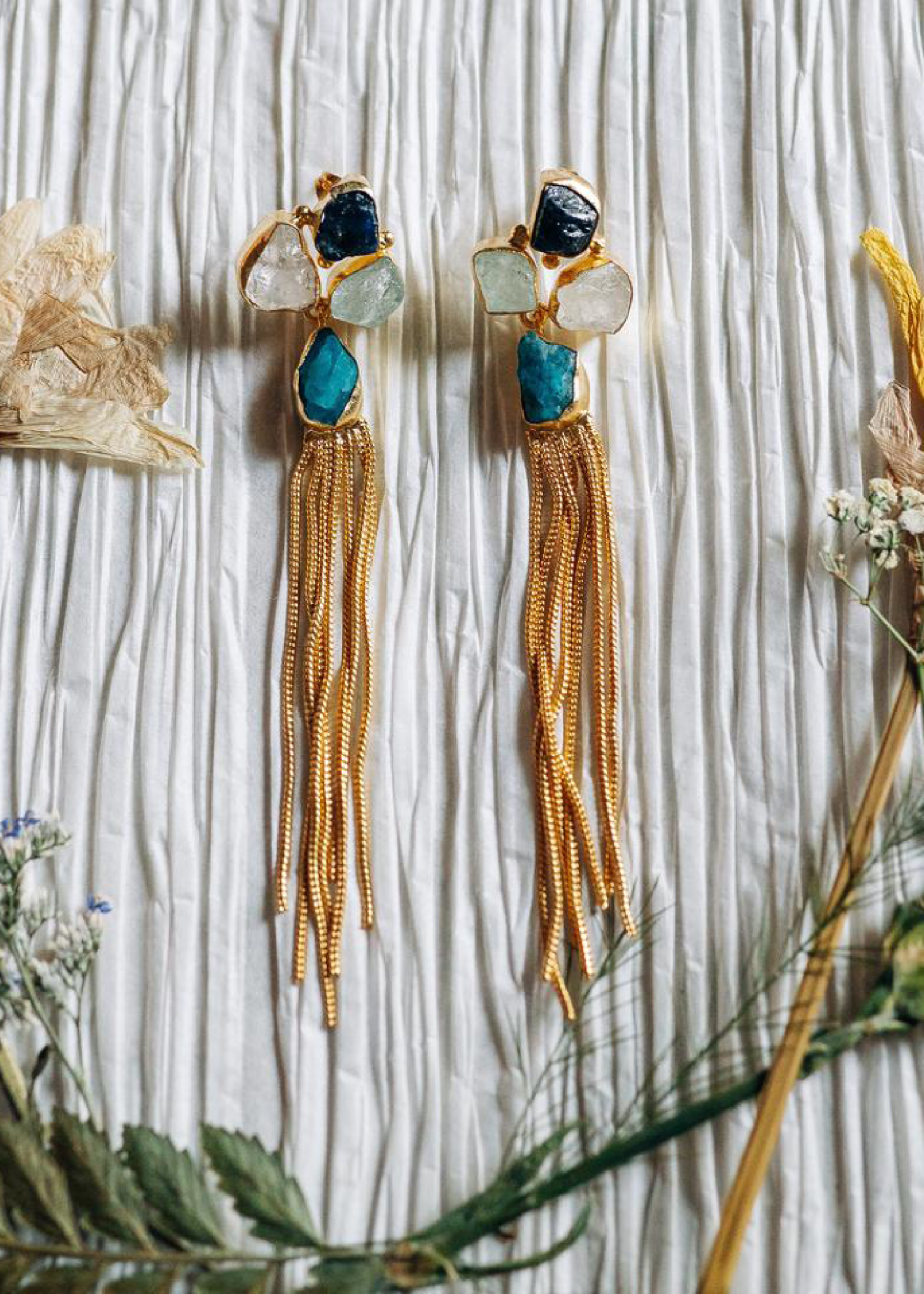 Wolf & Willa Mulit Stone Earrings w/Tassel
