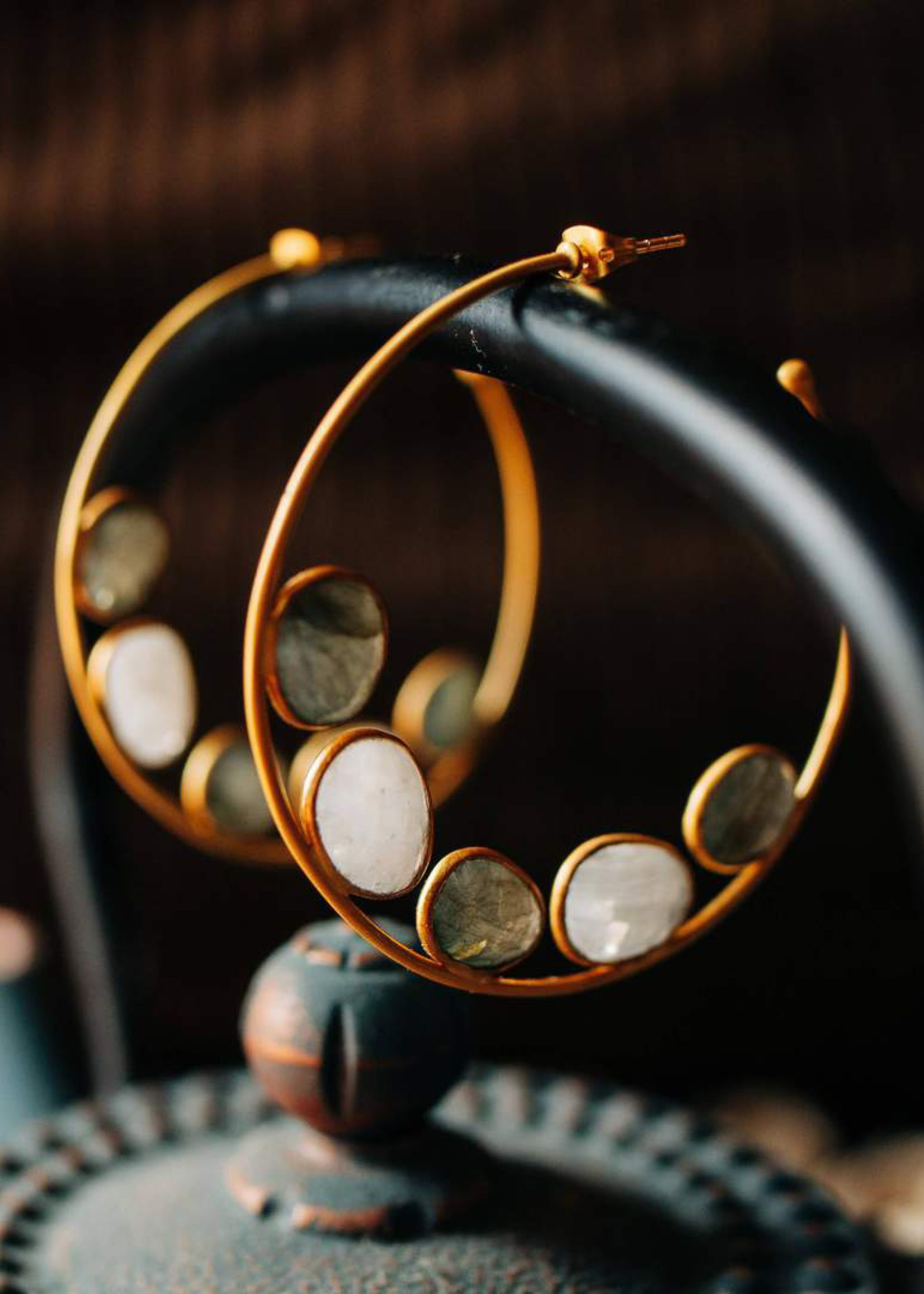 Wolf & Willa Labrodite and Moonstone Hoops