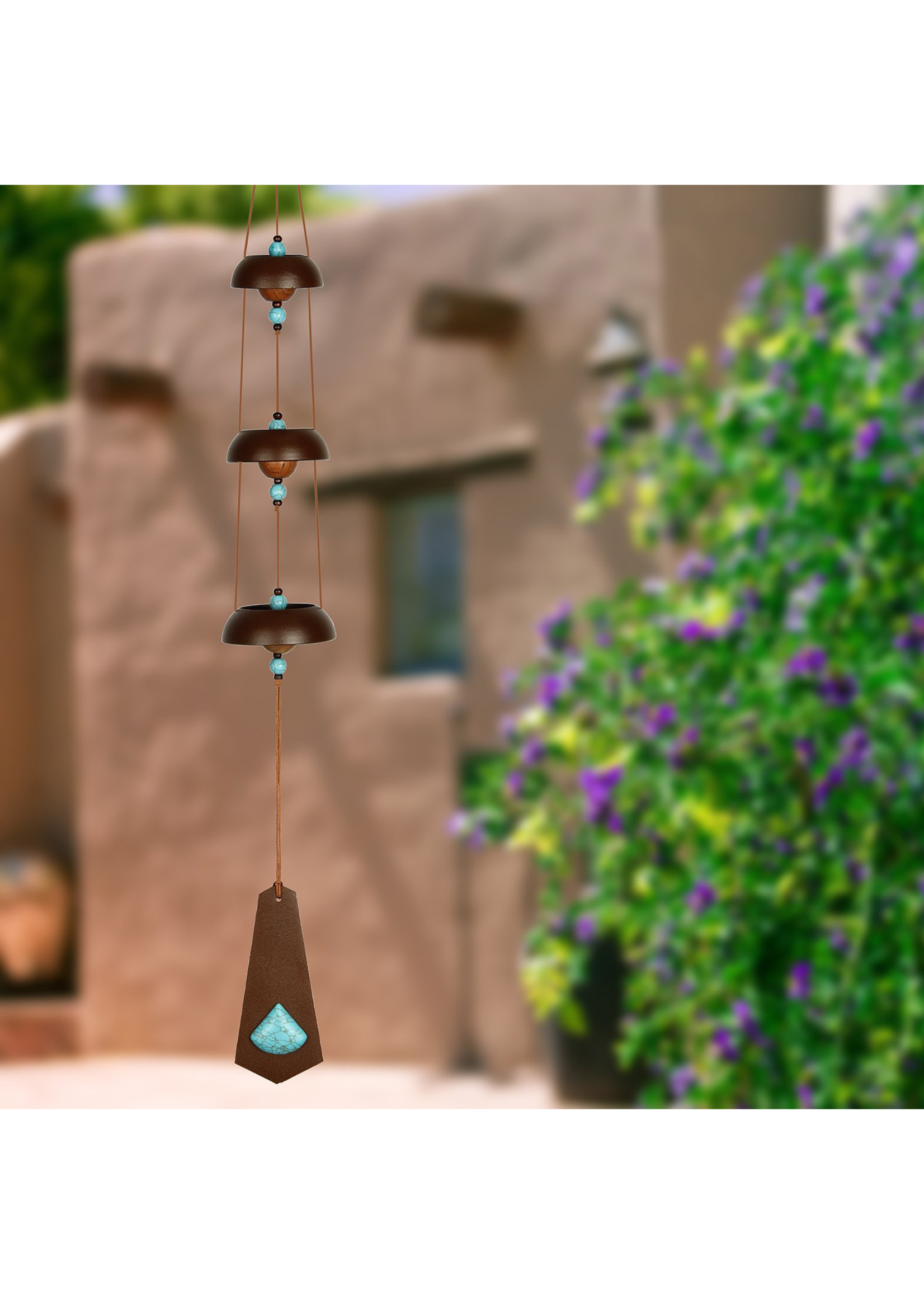 Woodstock Chimes Temple Bells, Rustic - Turquoise