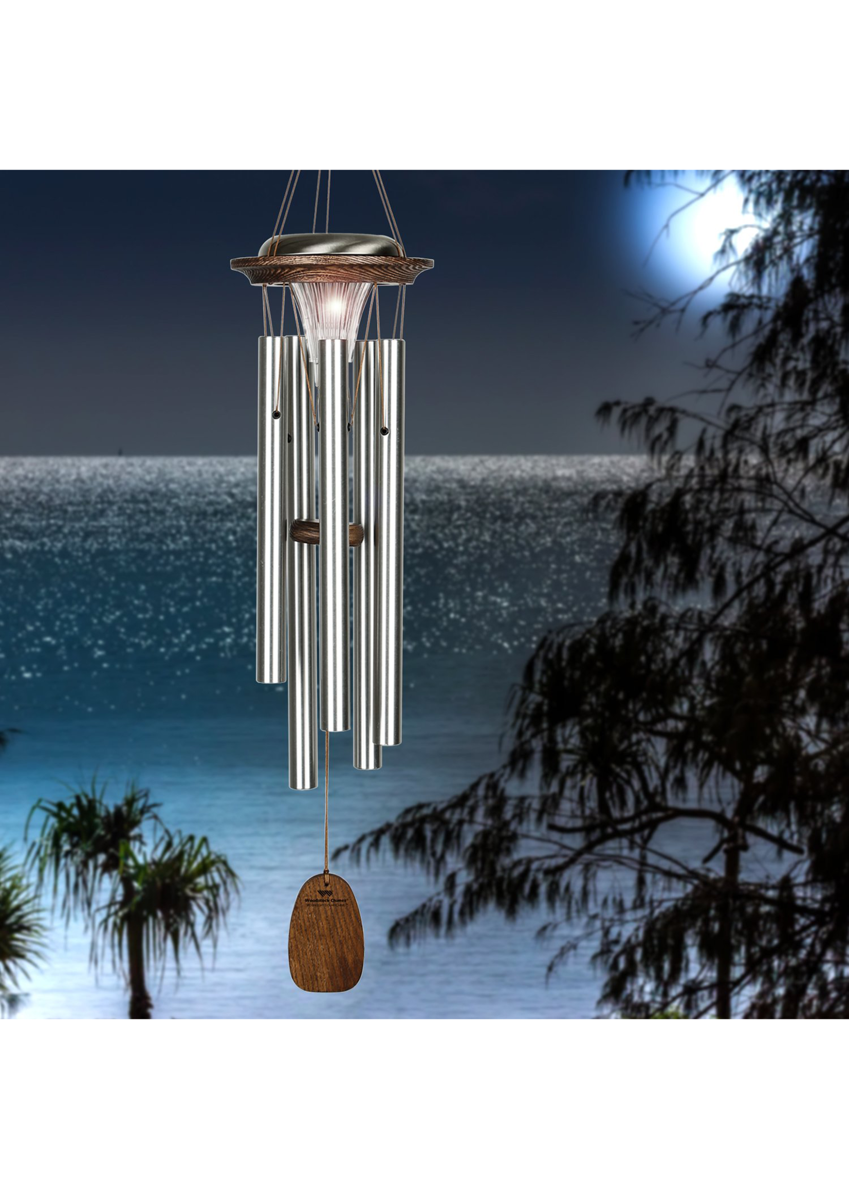 Woodstock Chimes Moonlight Solar Chime - Silver