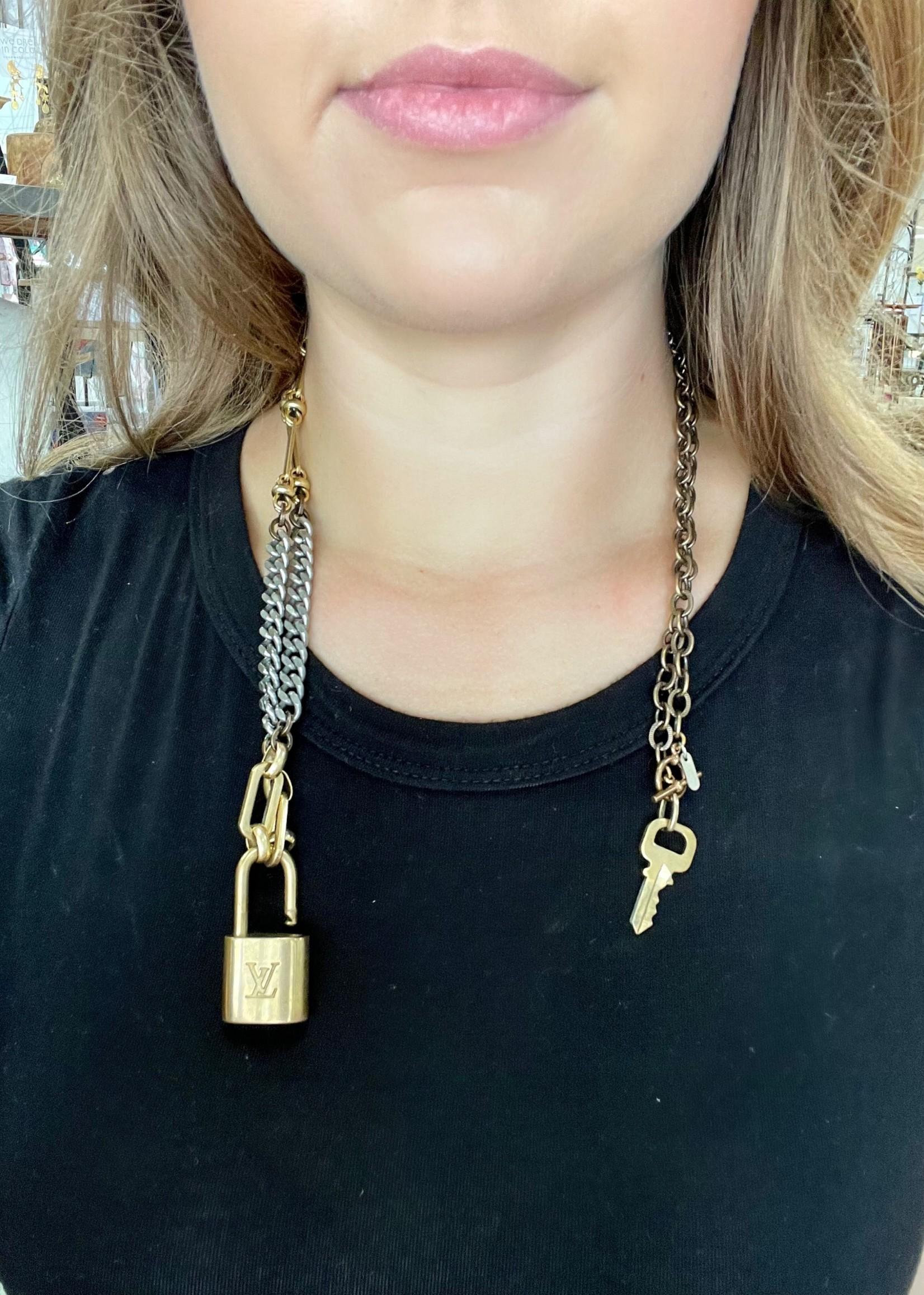 "Mark Edge Vintage Lock & Key, Brass/Stainless Steal, 36"""