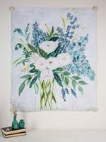"TradeCie Blue Floral in Vase Paper Art, 38""x46''"