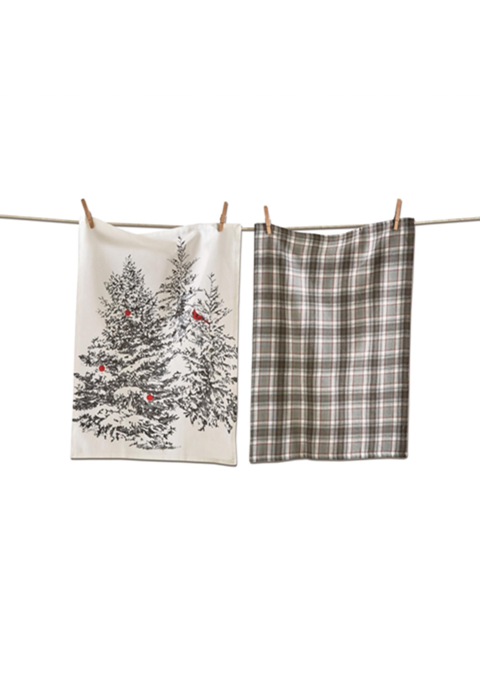 Tag True Living Winter Sketches Tree Dishtowel Set 2