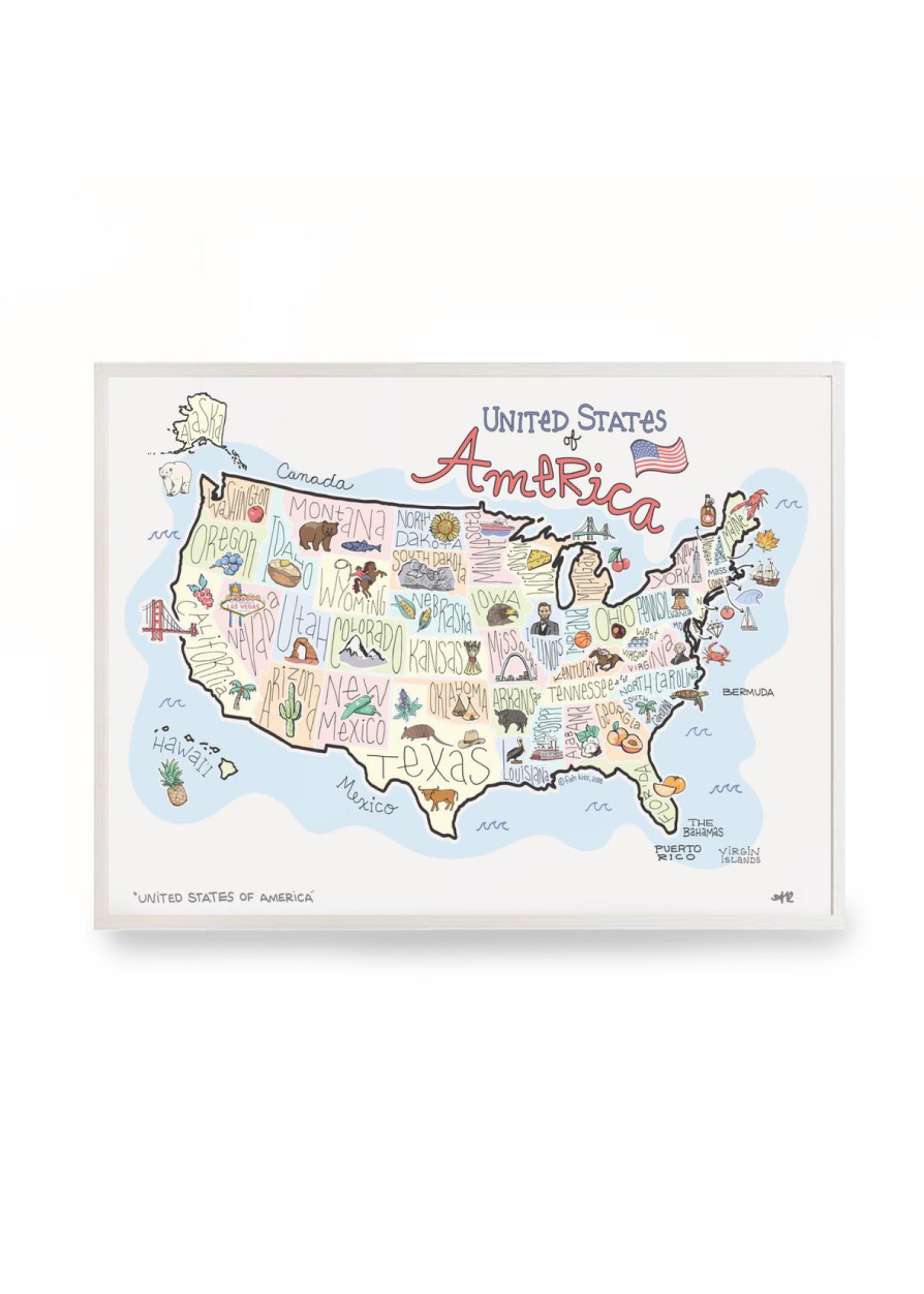 fish kiss America Map Print