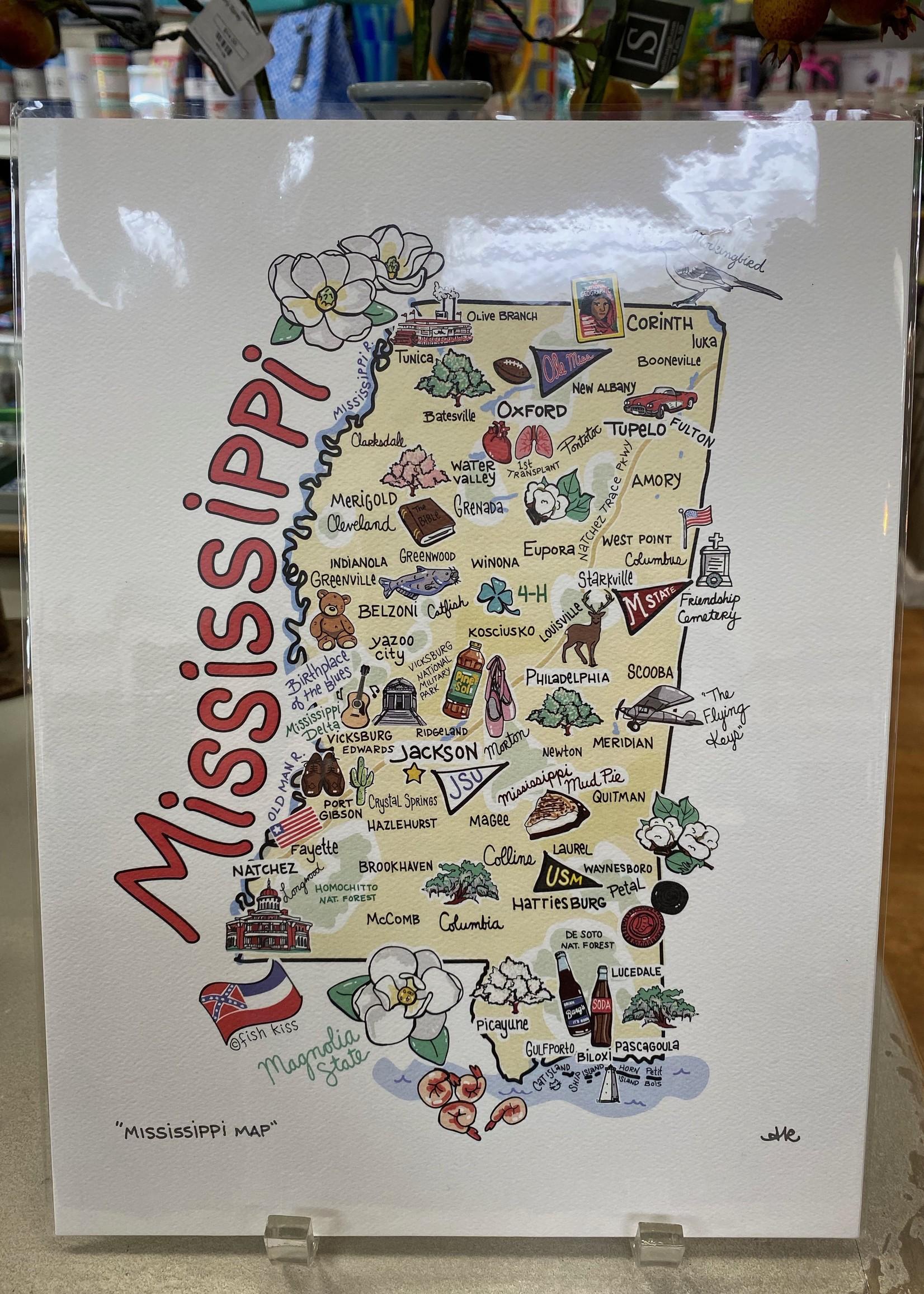 fish kiss MS Map Print