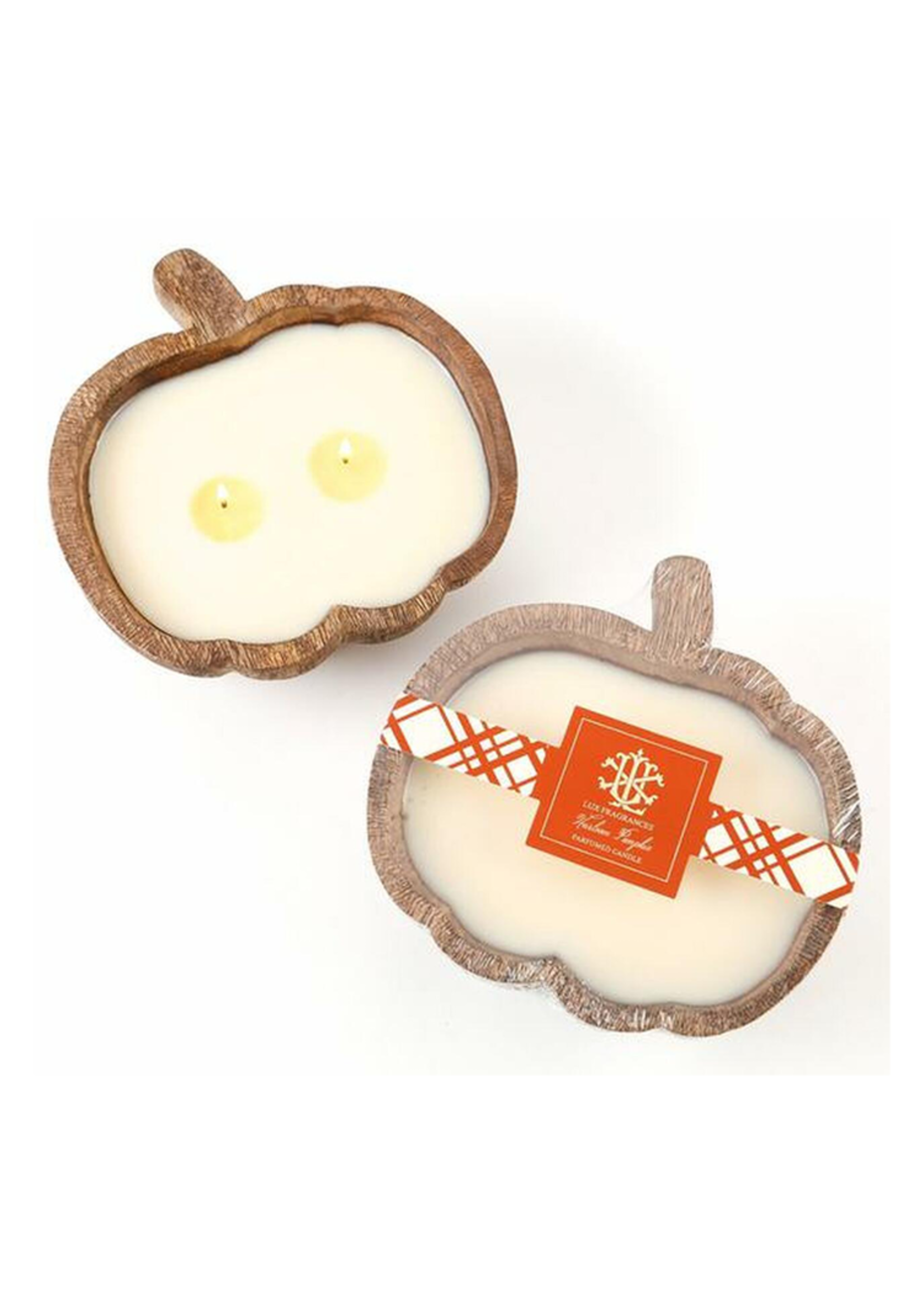 Lux Wooden Pumpkin Bowl 2 Wick Candle