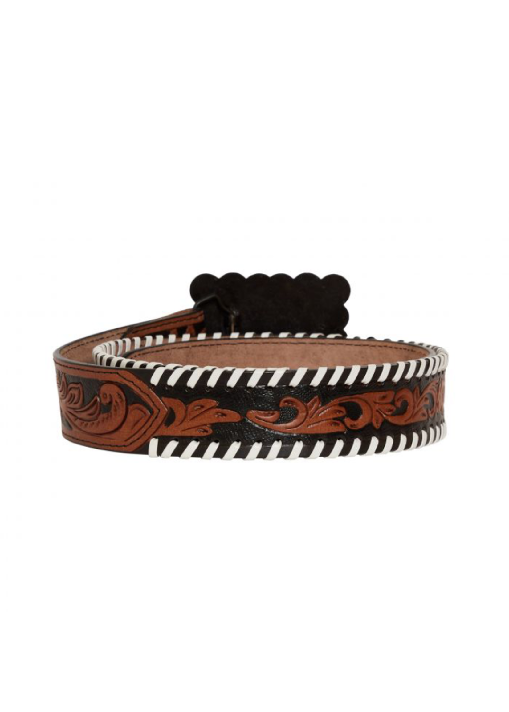 Myra Grave Brown Hand-Tooled Leather Belt