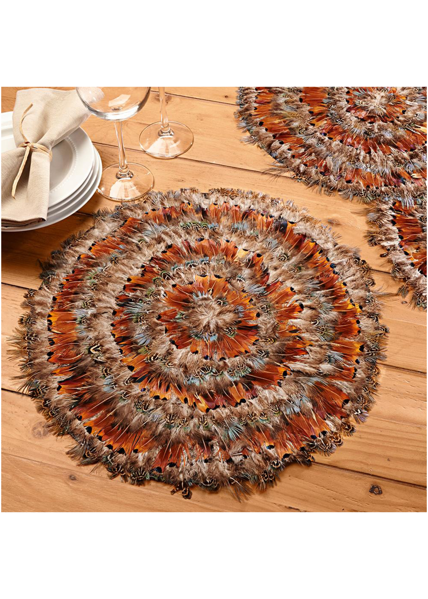 Two's Company, Inc. Pheasant Decorative Placemats
