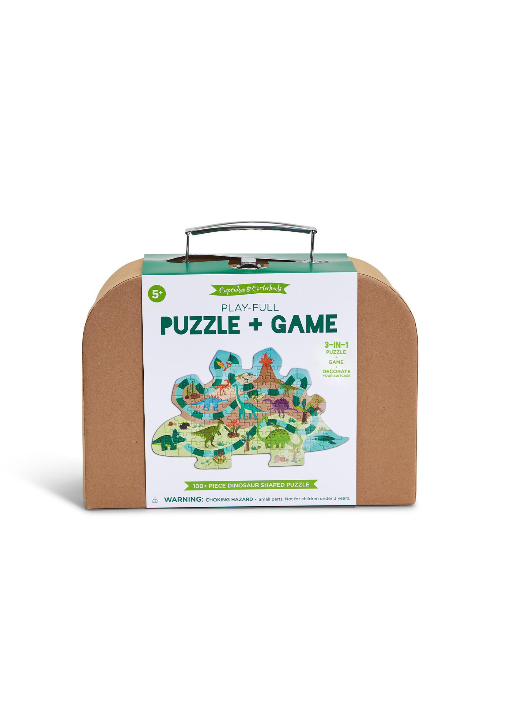 Two's Company, Inc. Play-Full Dinosaur Shape Puzzle Game in Suitcase