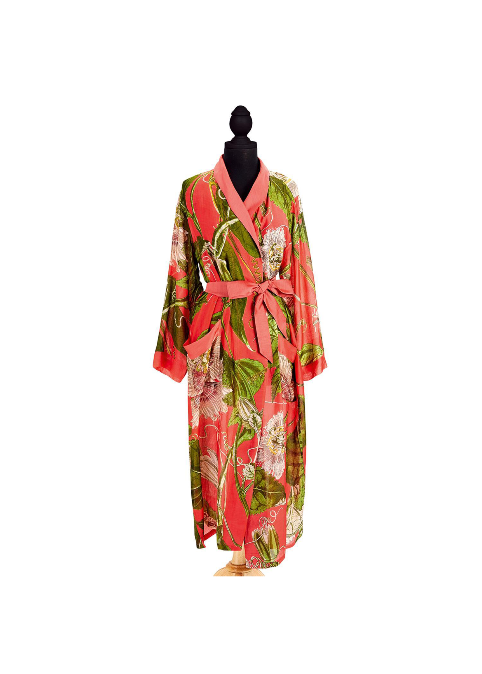 Two's Company, Inc. Coral Passion Flower Robe Gown