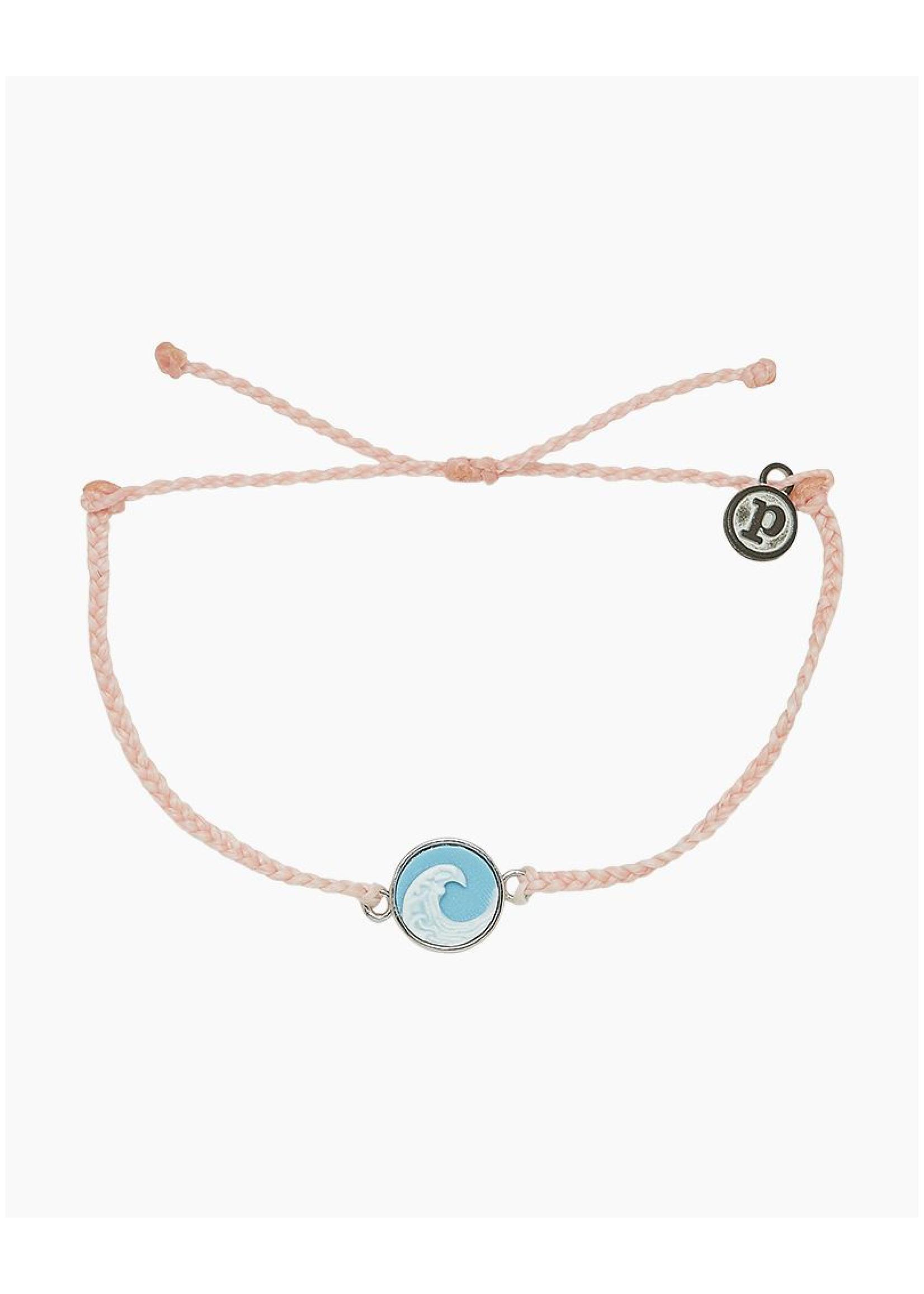 puravida bracelets Wave Cameo Charm Silver Bracelet Baby Pink