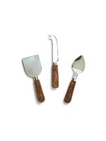 Two's Company, Inc. Bark Handle Cheese Knives in Gift Box, S/3