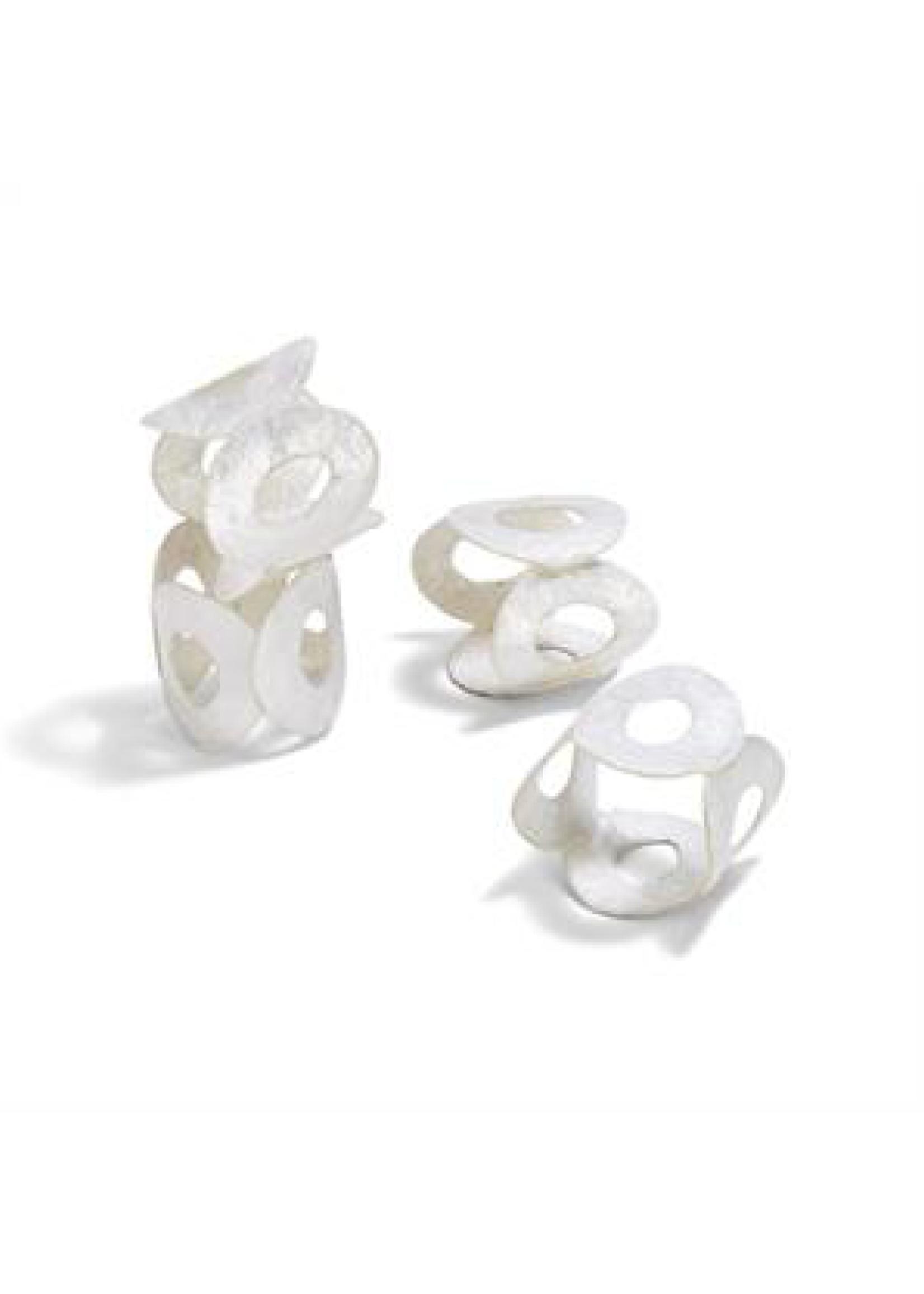 Two's Company, Inc. Capiz Shell Napkin Rings, Set 4