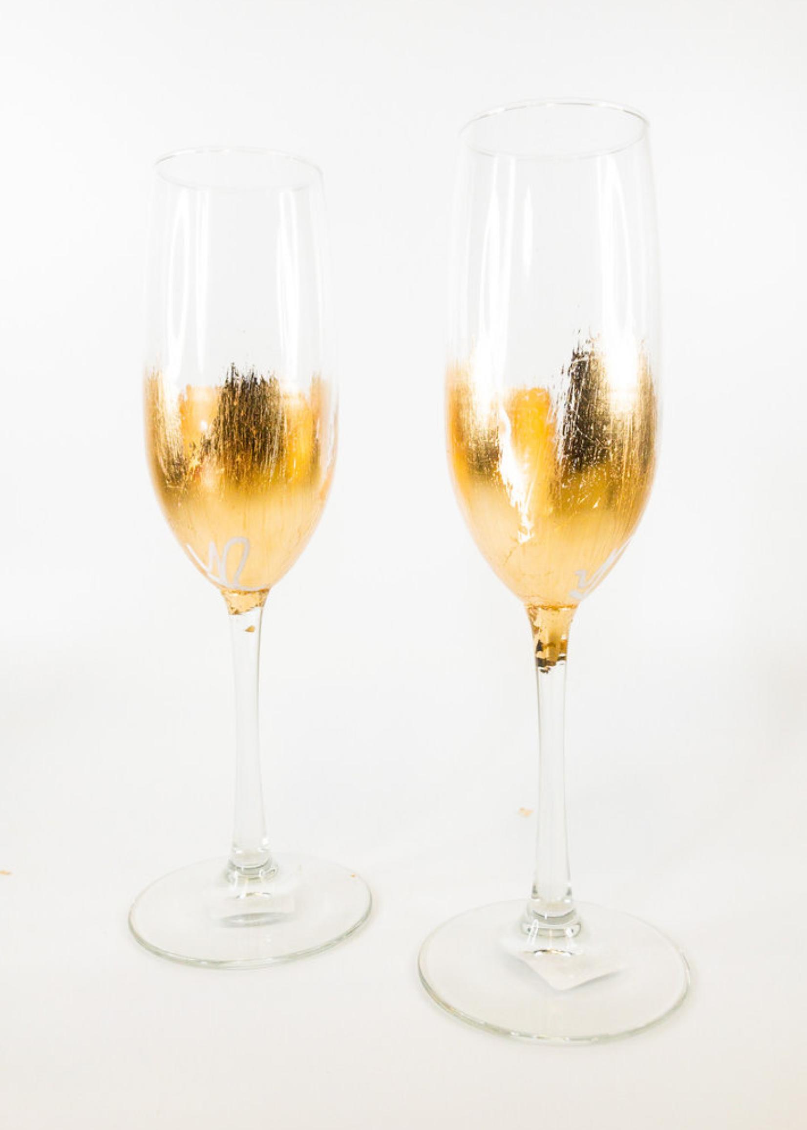 Elm Gold Leaf Champagne Glass