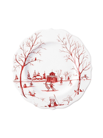 """Juliska Country Estate Winter Frolic Ruby """"The Claus' Christmas Day"""" Dessert/Salad Plate"""