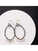 Original Hardware Oxidized Sterling Hoops with Moonstone Accents