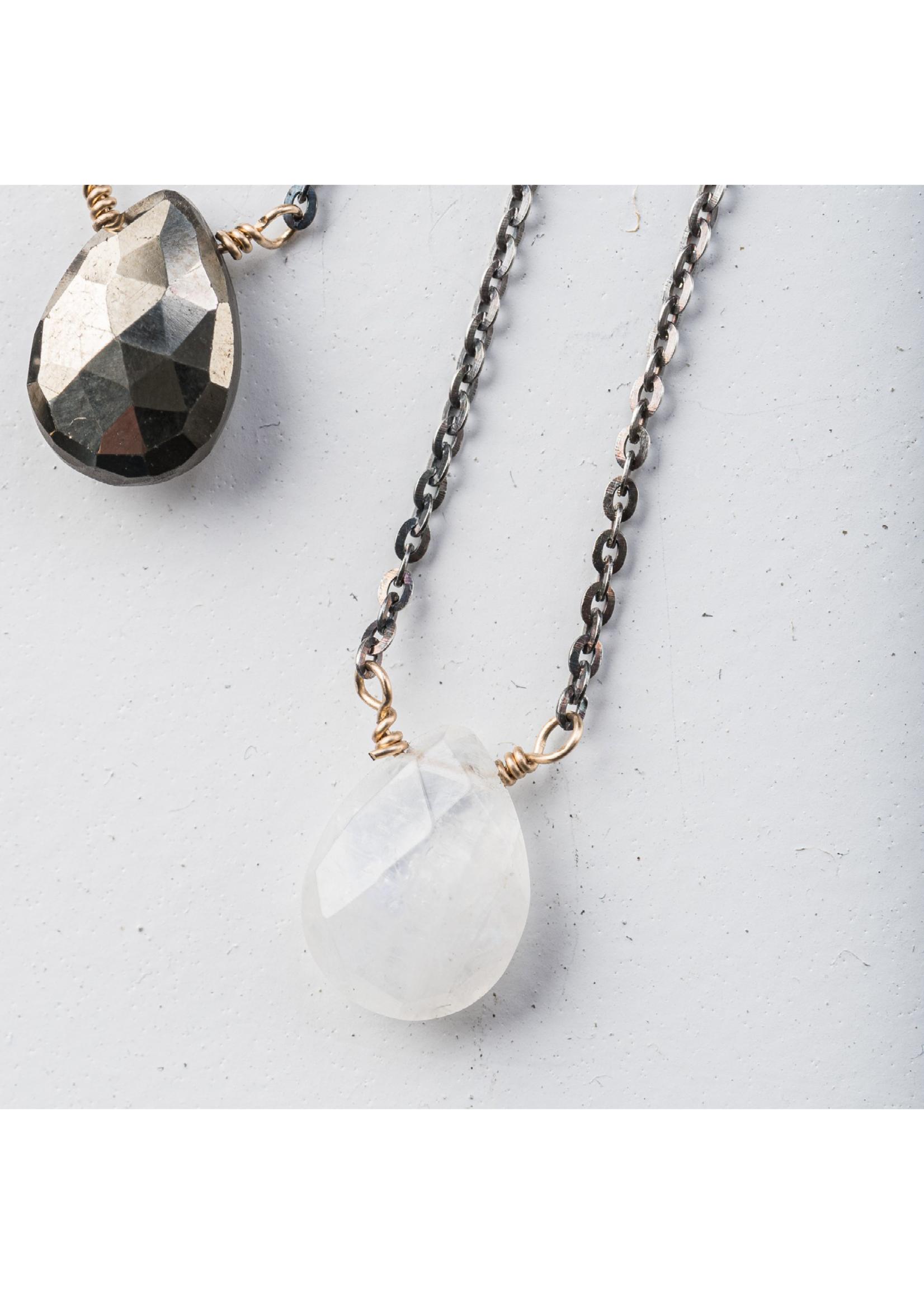 Original Hardware Large Gemstone Drop Necklace Moonstone