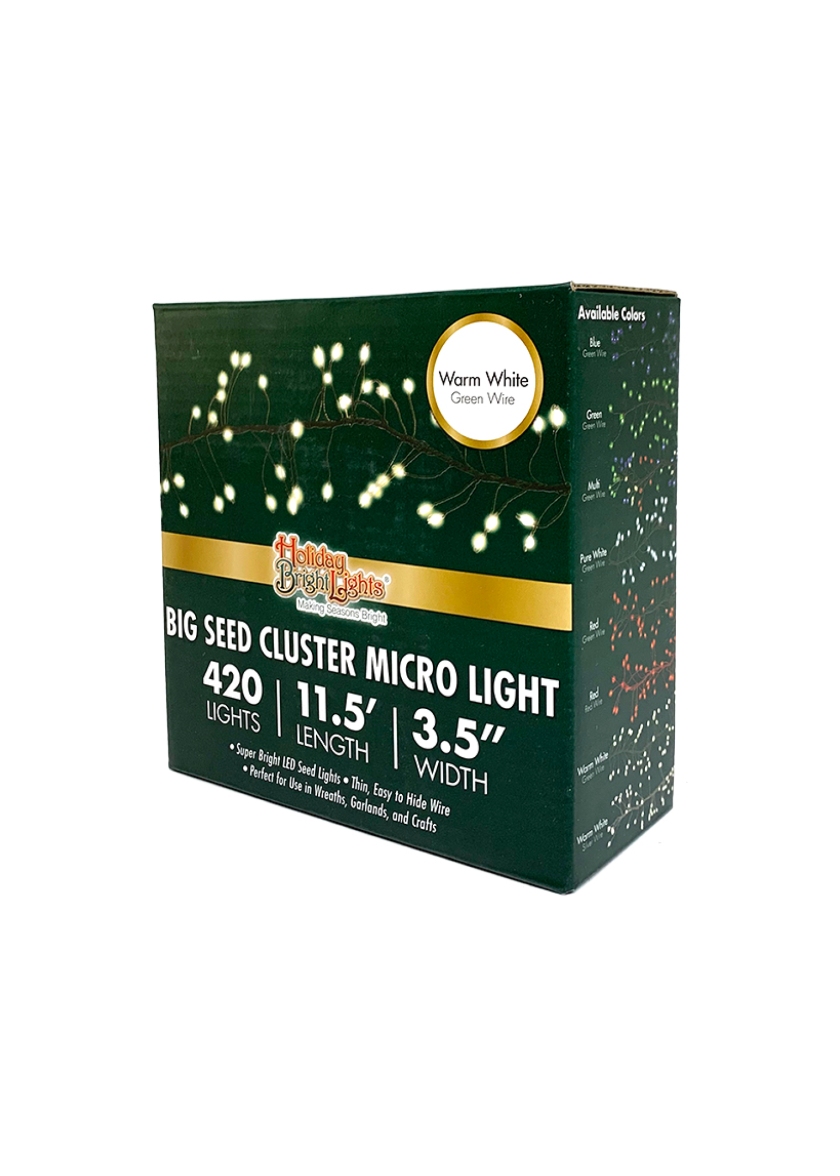 Holiday Bright Lights Big Seed Cluster Micro Lights, Warm White, 11.5' L