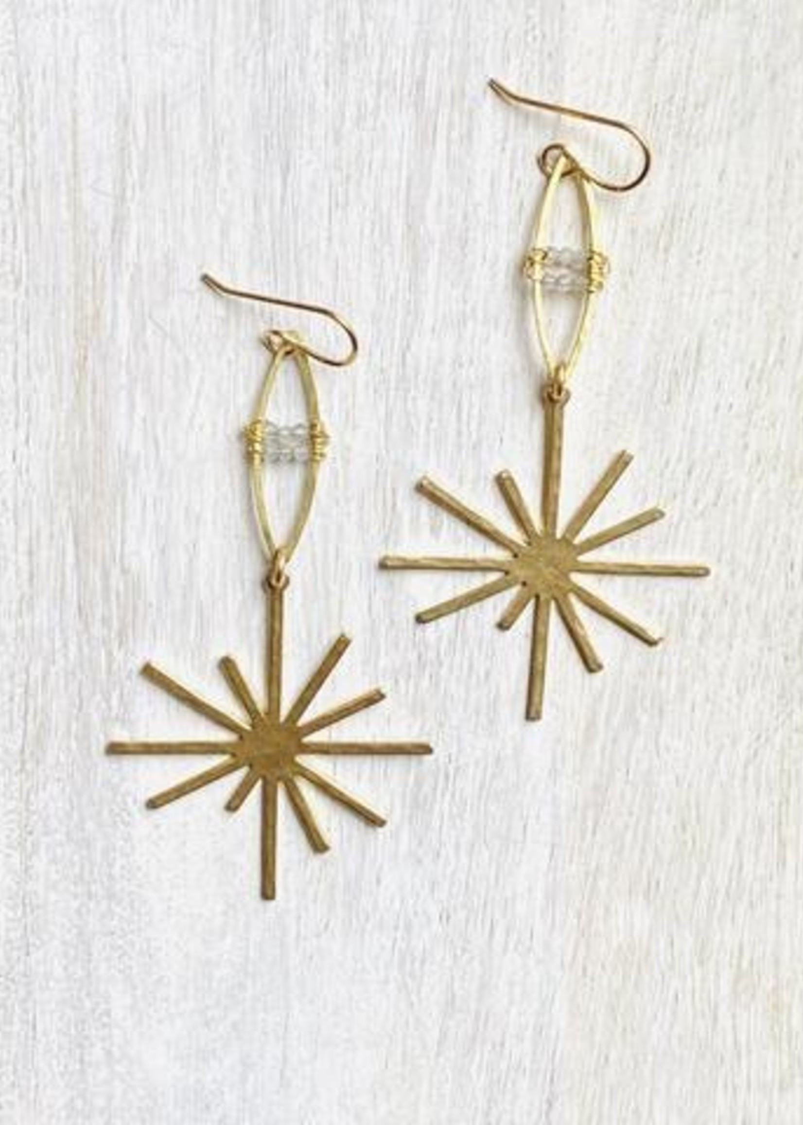 Darby Drake Marquis, Stones Bars & Star Earrings, Brass/Labrodorite
