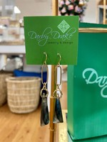 Darby Drake Paperclip, Seed Beads & Stone Earrings, Brass/Labrodorite