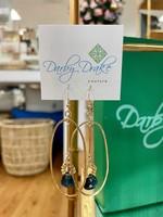 Darby Drake GF Oval, 2 Hole Bar, Rondelles & Stone Earrings, 14k gold