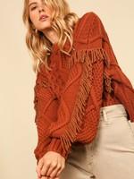 Line & Dot Amber Jasper Fringe Sweater