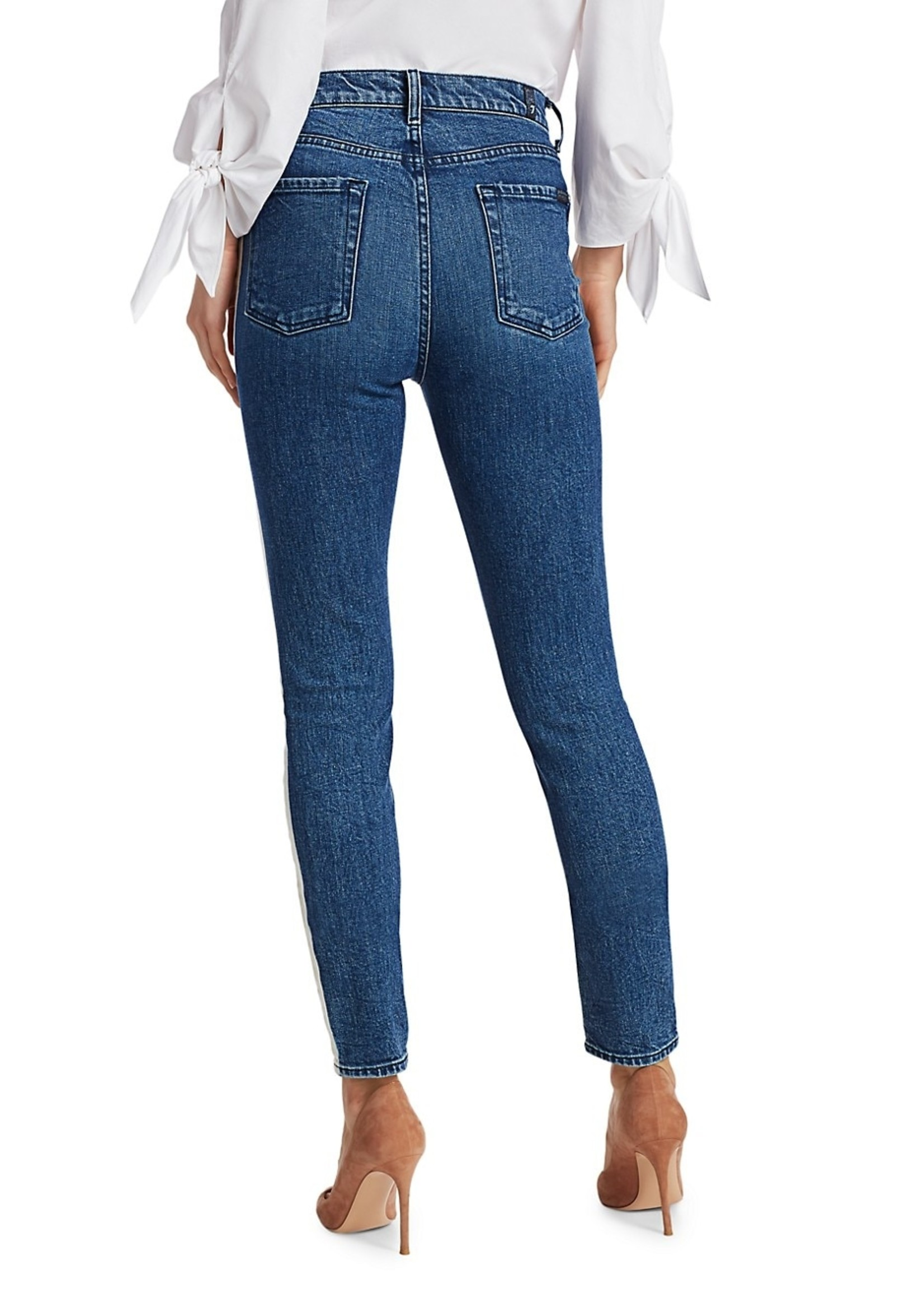 7 for all mankind Skinny High Waisted Striped Jean