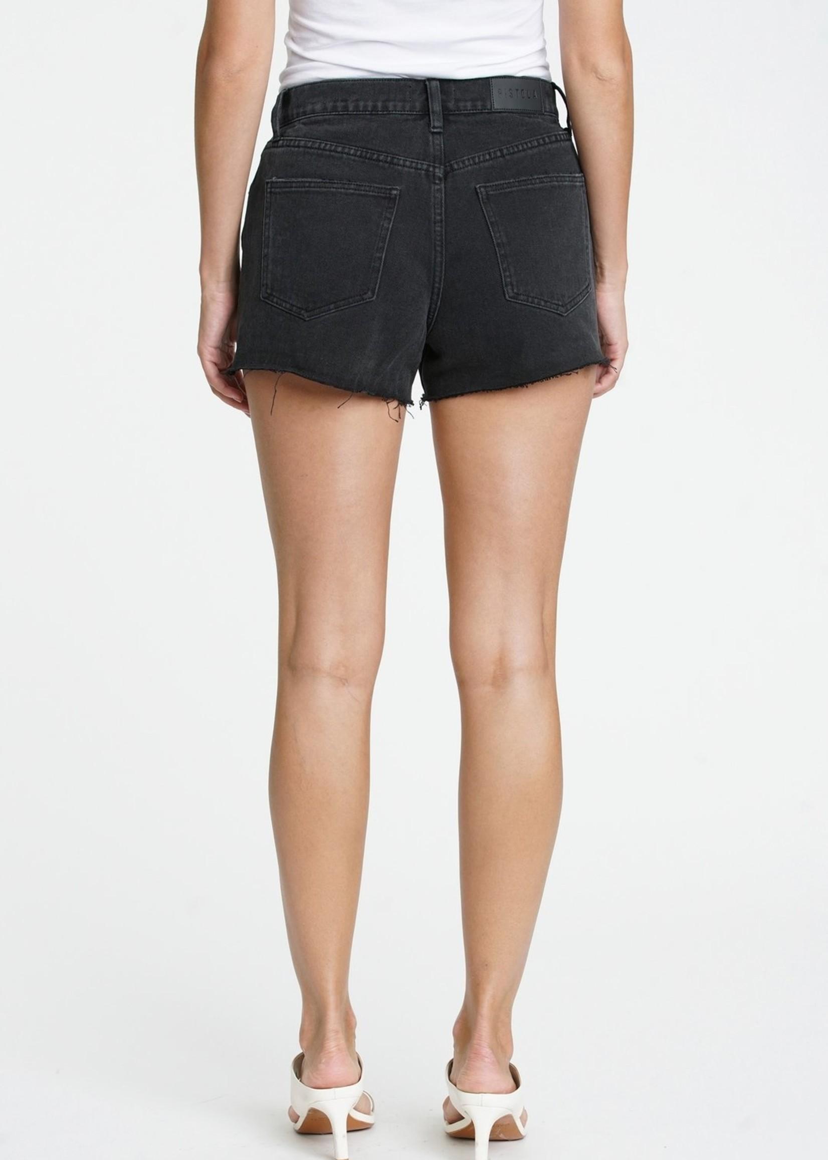 Pistola Black Cuffed Distressed Shorts