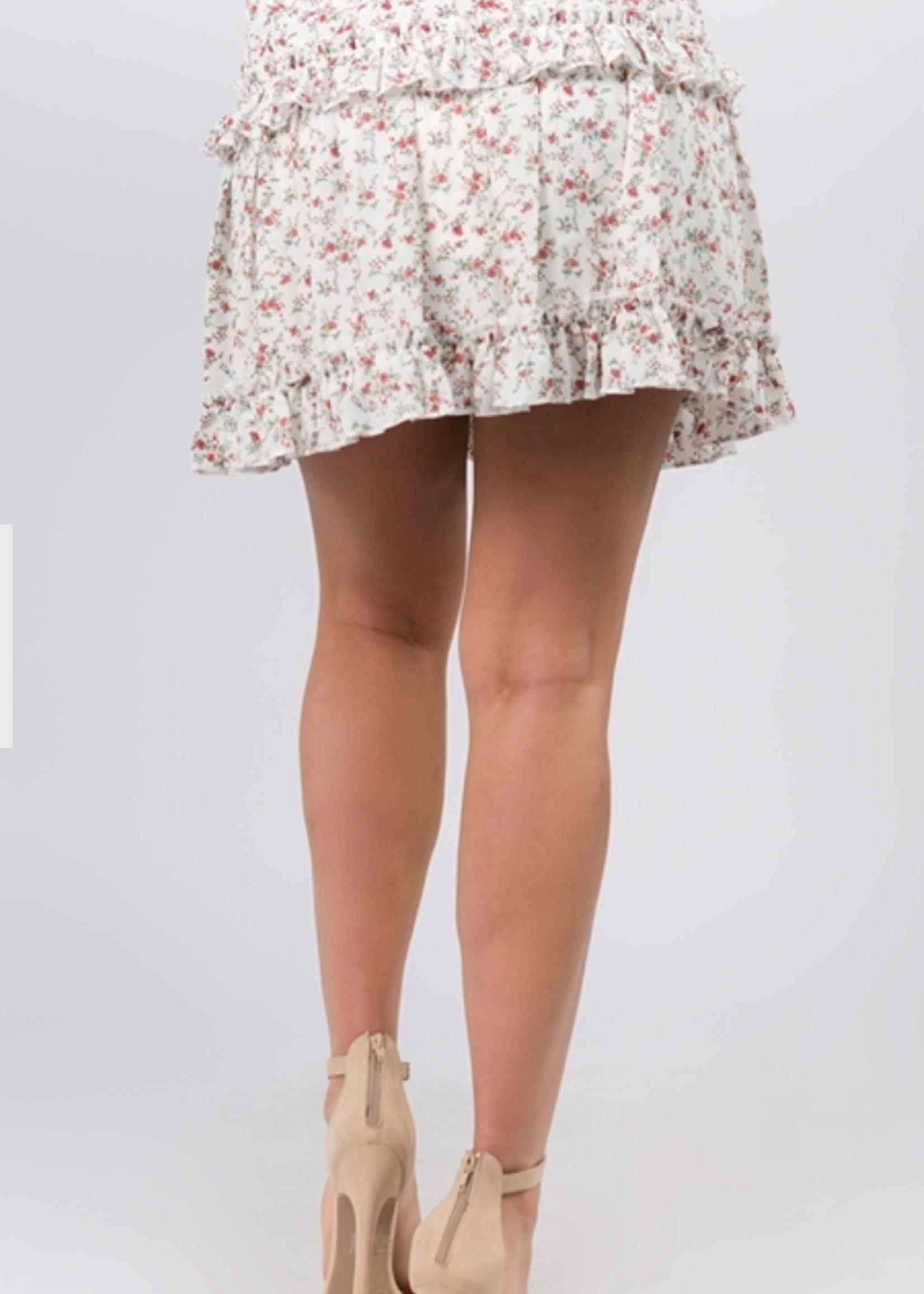 Fanco Floral Ruffled Skirt