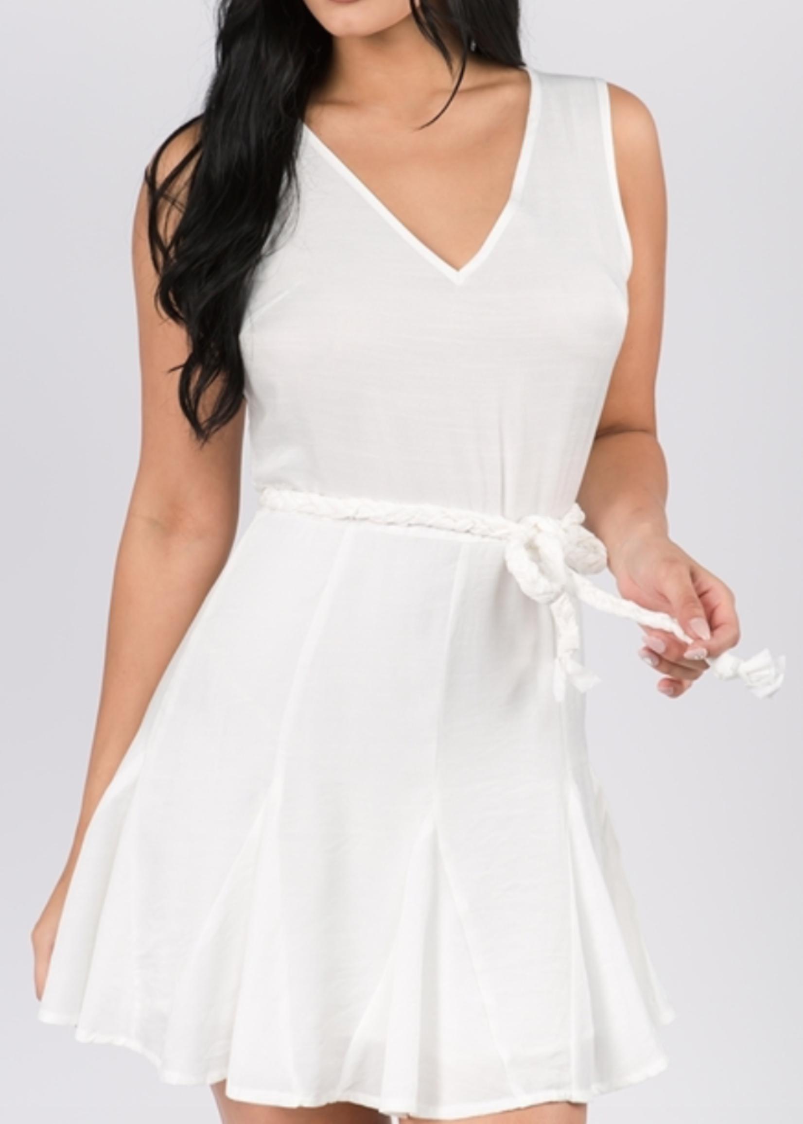 Fanco White Rope Tie Dress