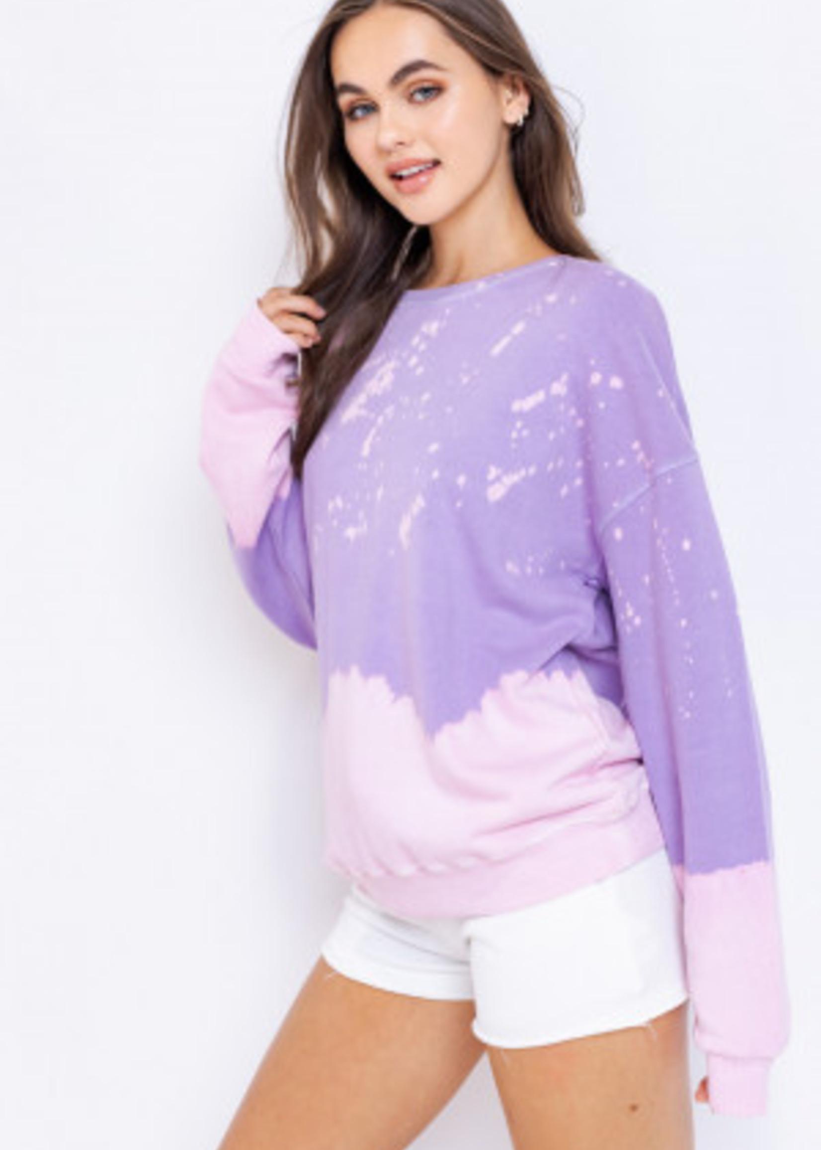 Le Lis Purple Tie Dye Sweatshirt