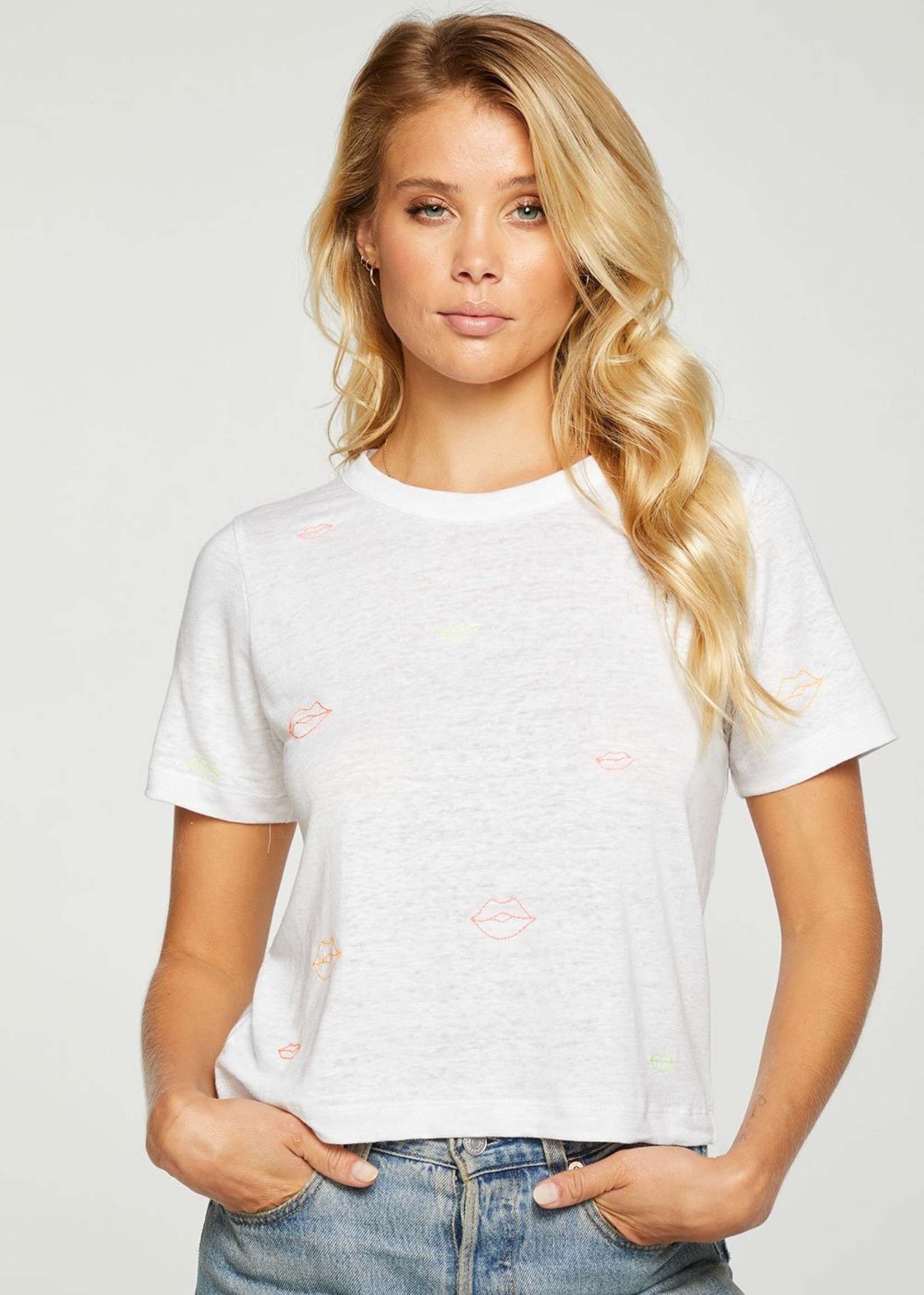 Chaser Neon Lips Crop Tee