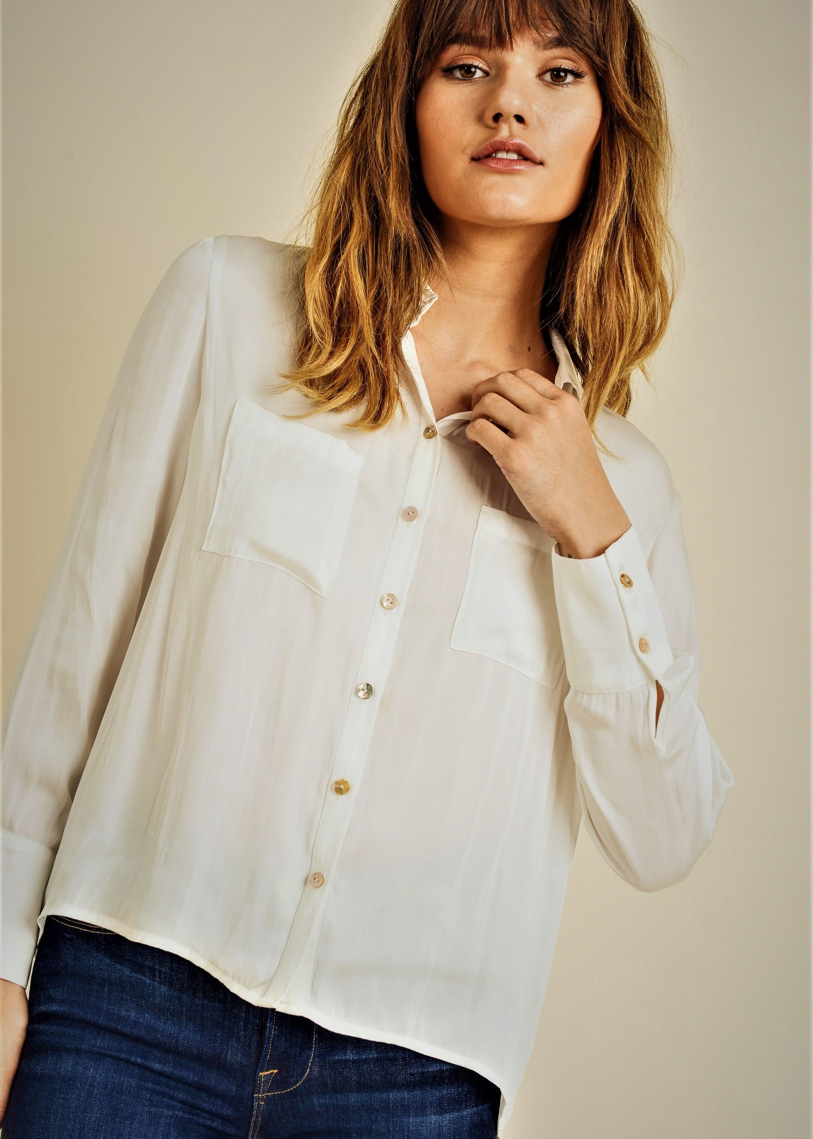 Reset by jane Silky Button Up Blouse