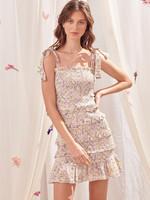 Storia Lilac Floral Smocked Dress
