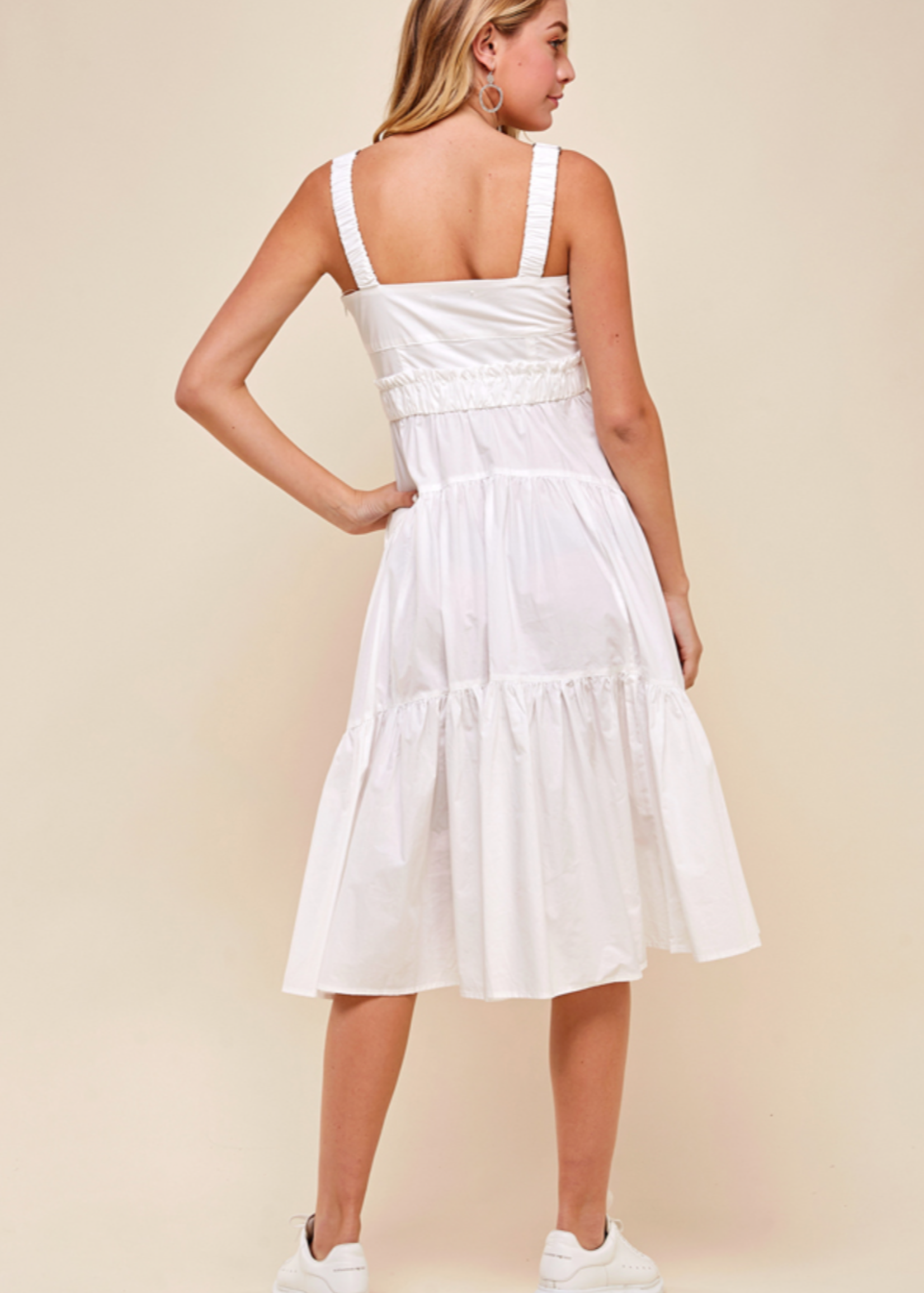 Pinch White Tiered Midi Dress