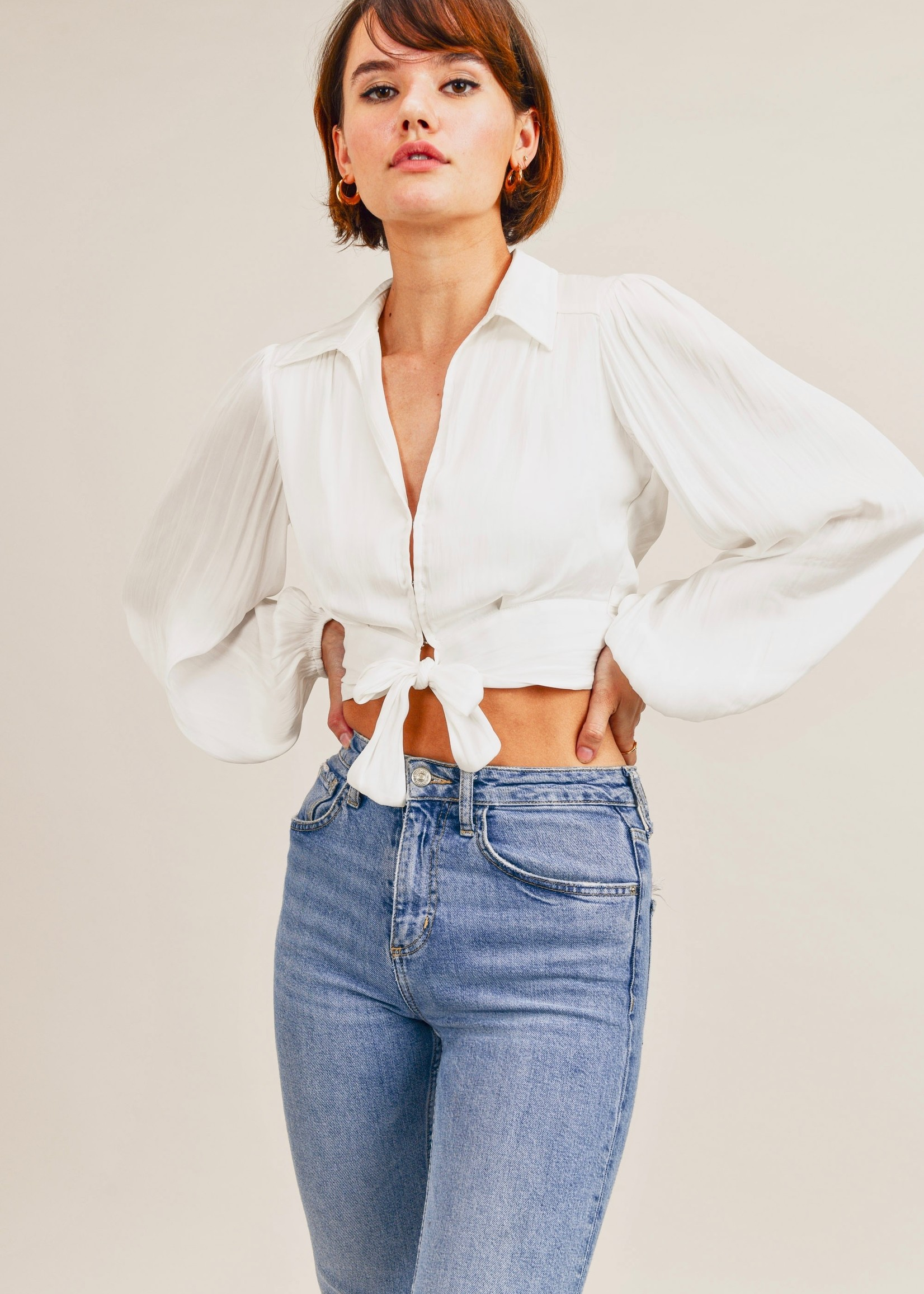 Reset by jane White Silky Tie Top