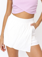 Le Lis White Pleated Wrap Skort