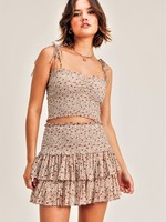 Reset by jane Ivory Floral Smocked Skirt