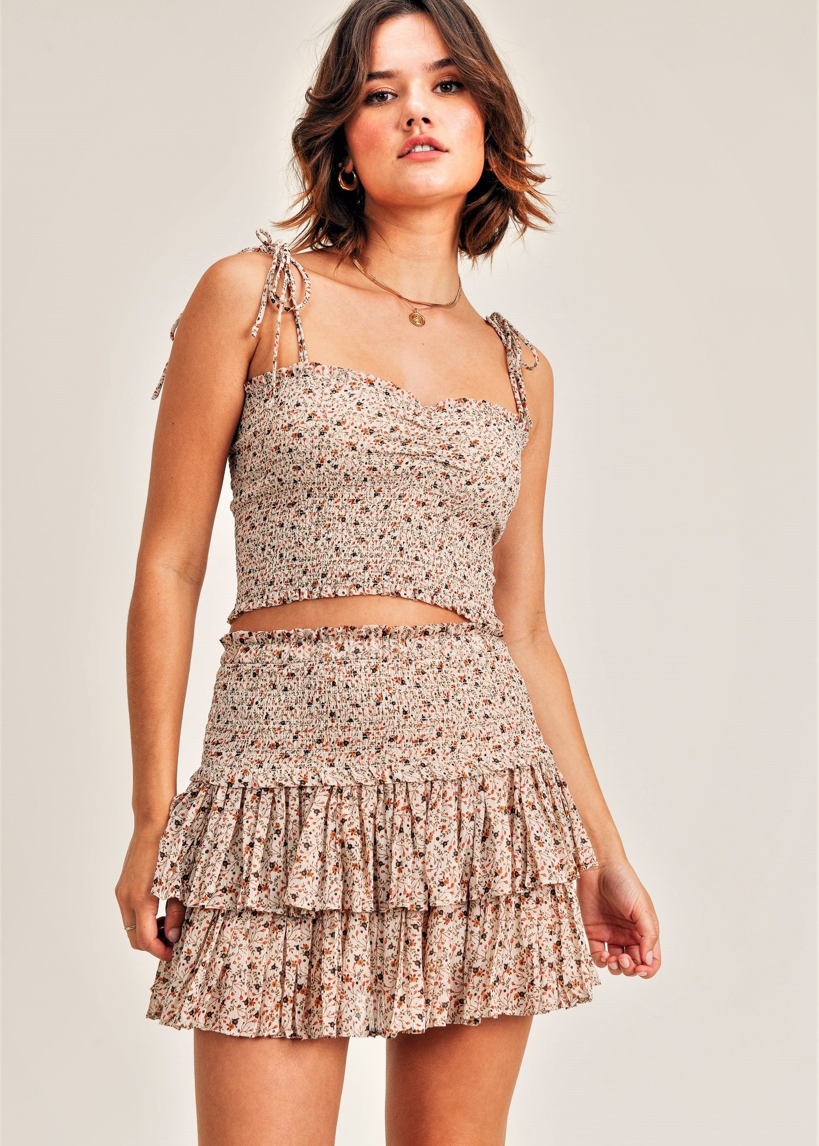 Reset by jane Ivory Floral Smocked Top