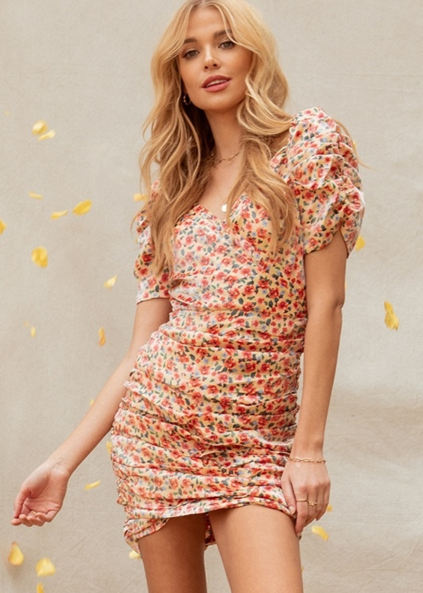 Fanco Gold Flower Ruched Dress