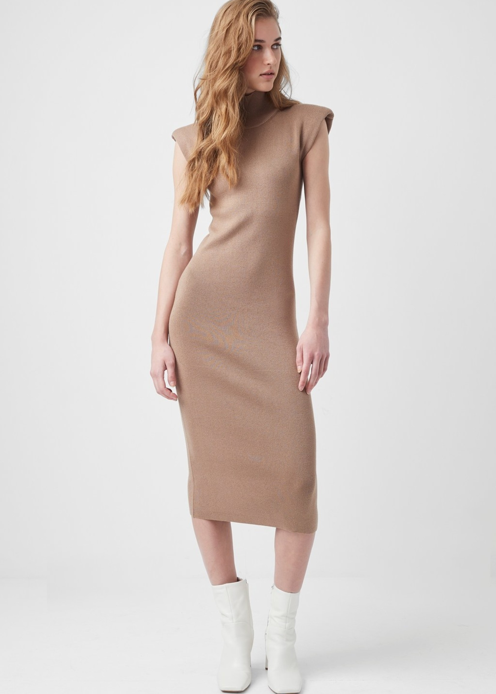 French Connection Camel Shoulder Pad Midi Dress