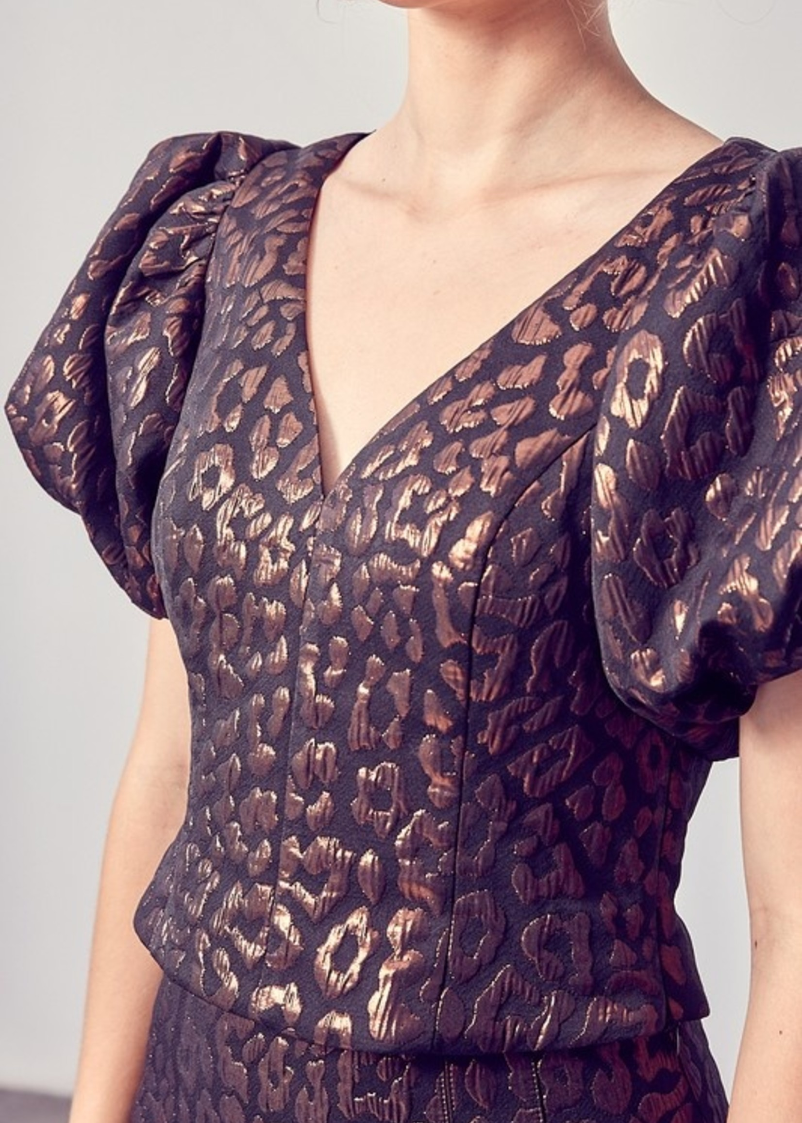 Do+Be Leopard Puff Sleeve Top