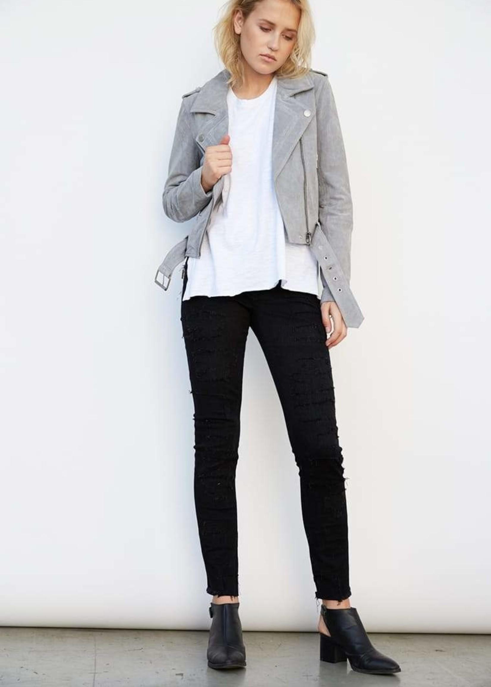 Blank NYC Cloud Grey Leather Jacket