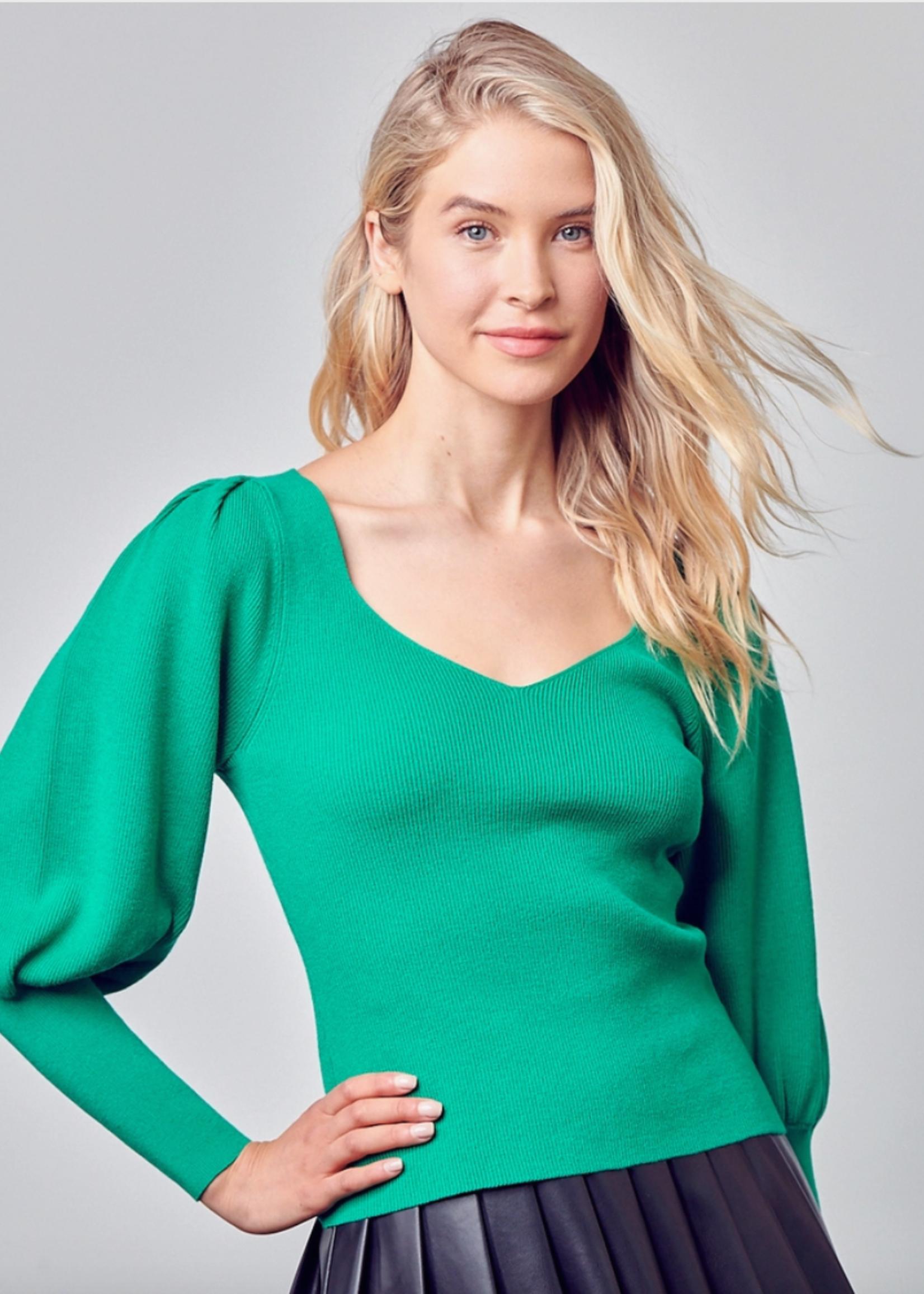 Do+Be Green Balloon Sleeve Sweater