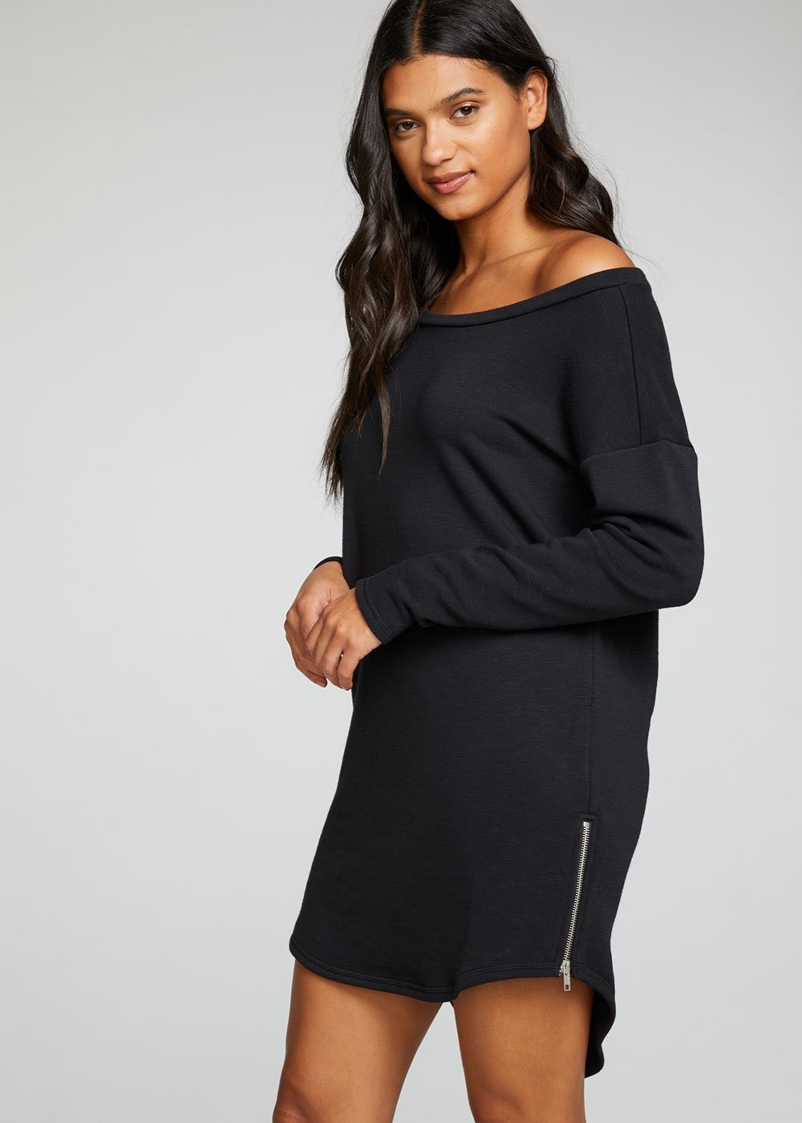 Chaser French Terry LS Shoulder Dress