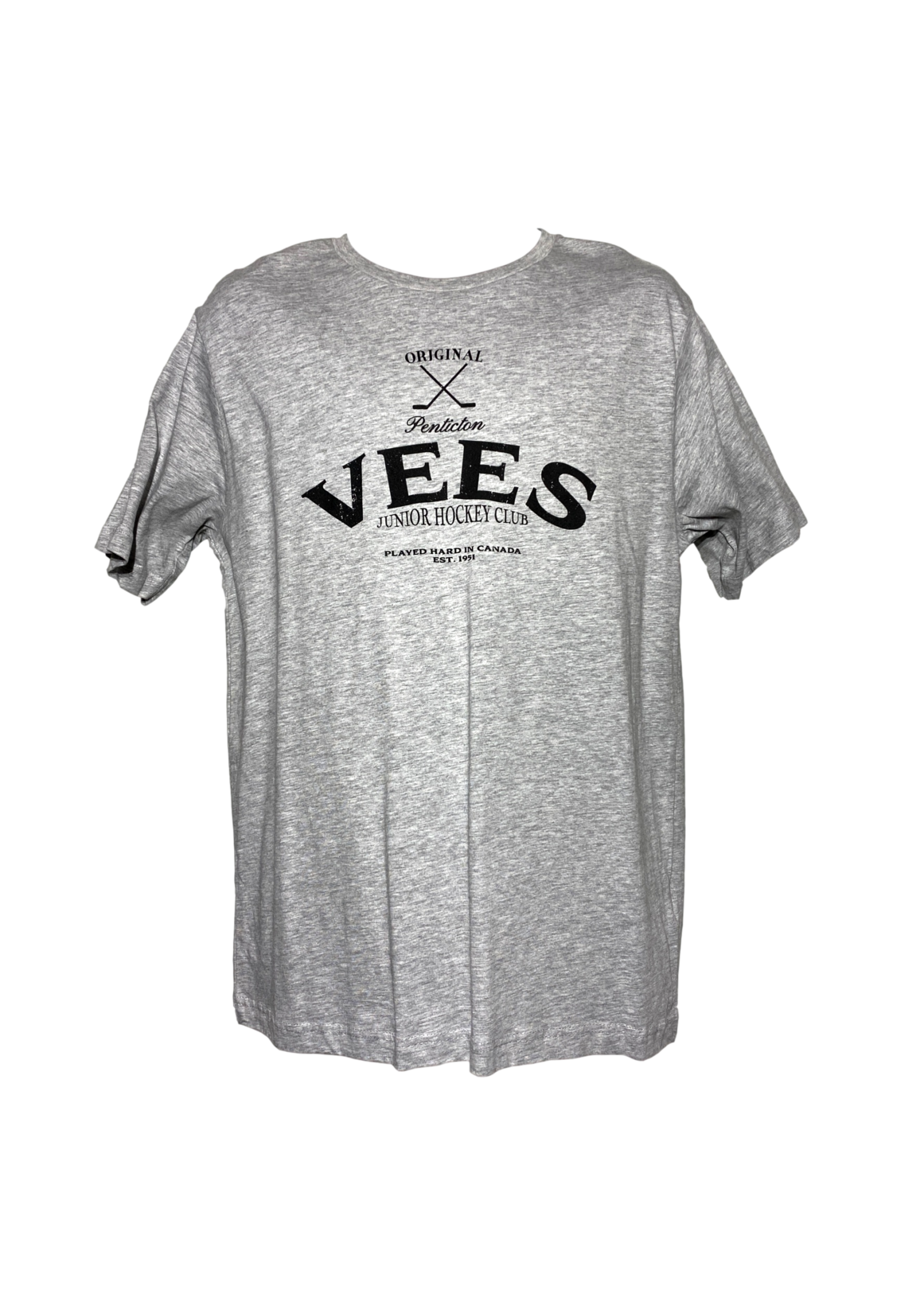 Vees Mens Grey T Shirt Black Logo
