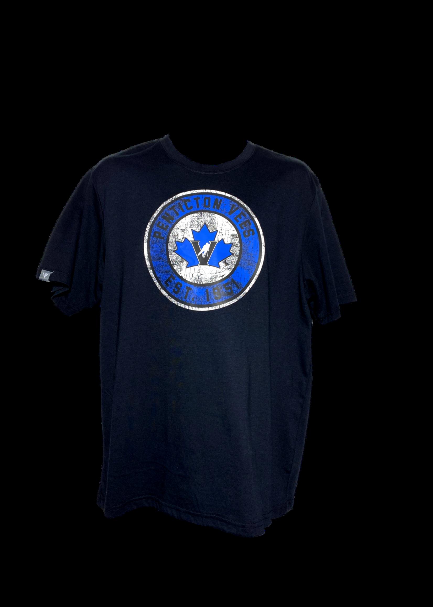 Levelwear Penticton Vees Men's Black T Shirt-Bulls Eye Logo