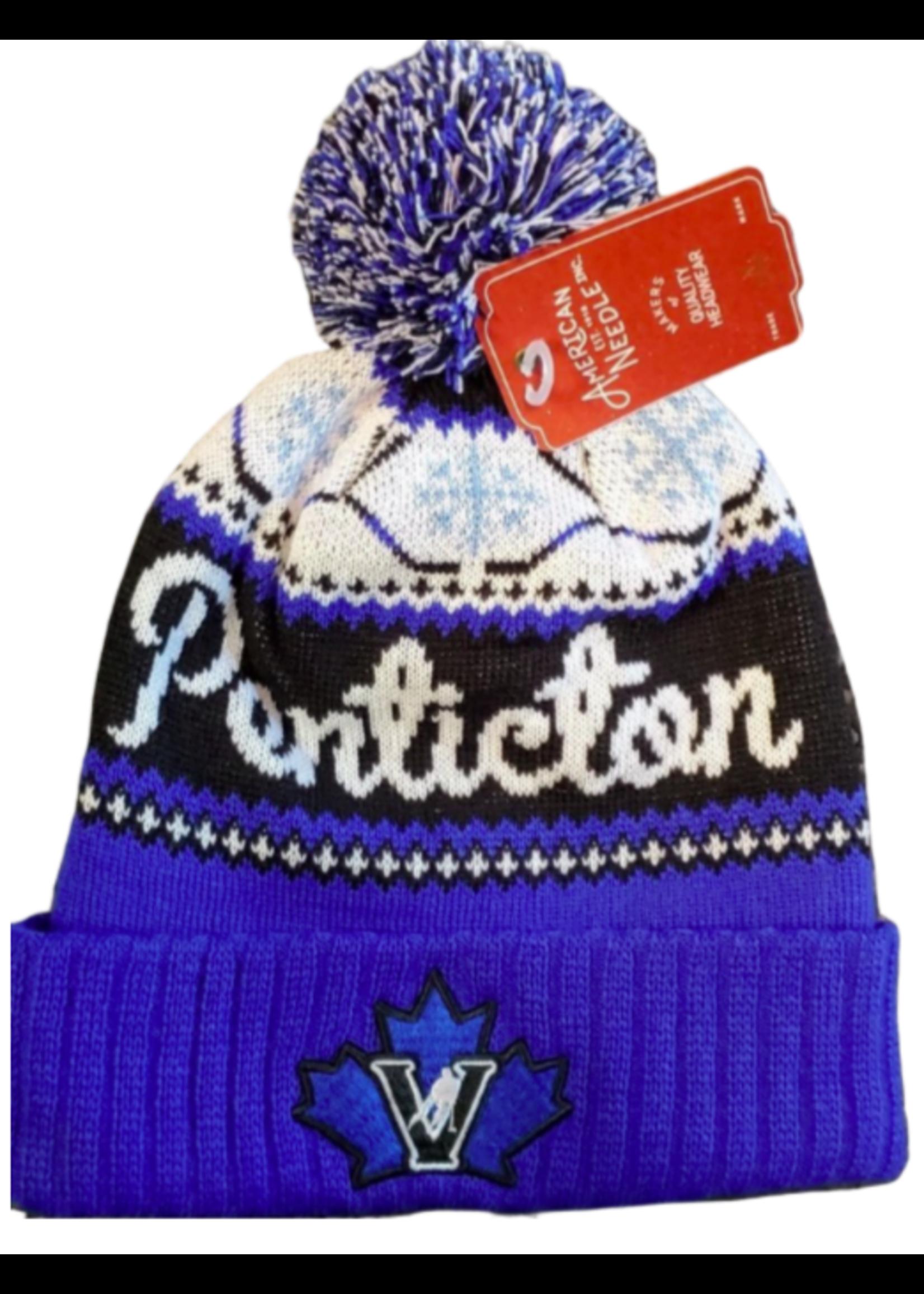 American Needle Penticton Vees Blue Pom Pom Touque - Peak Knit